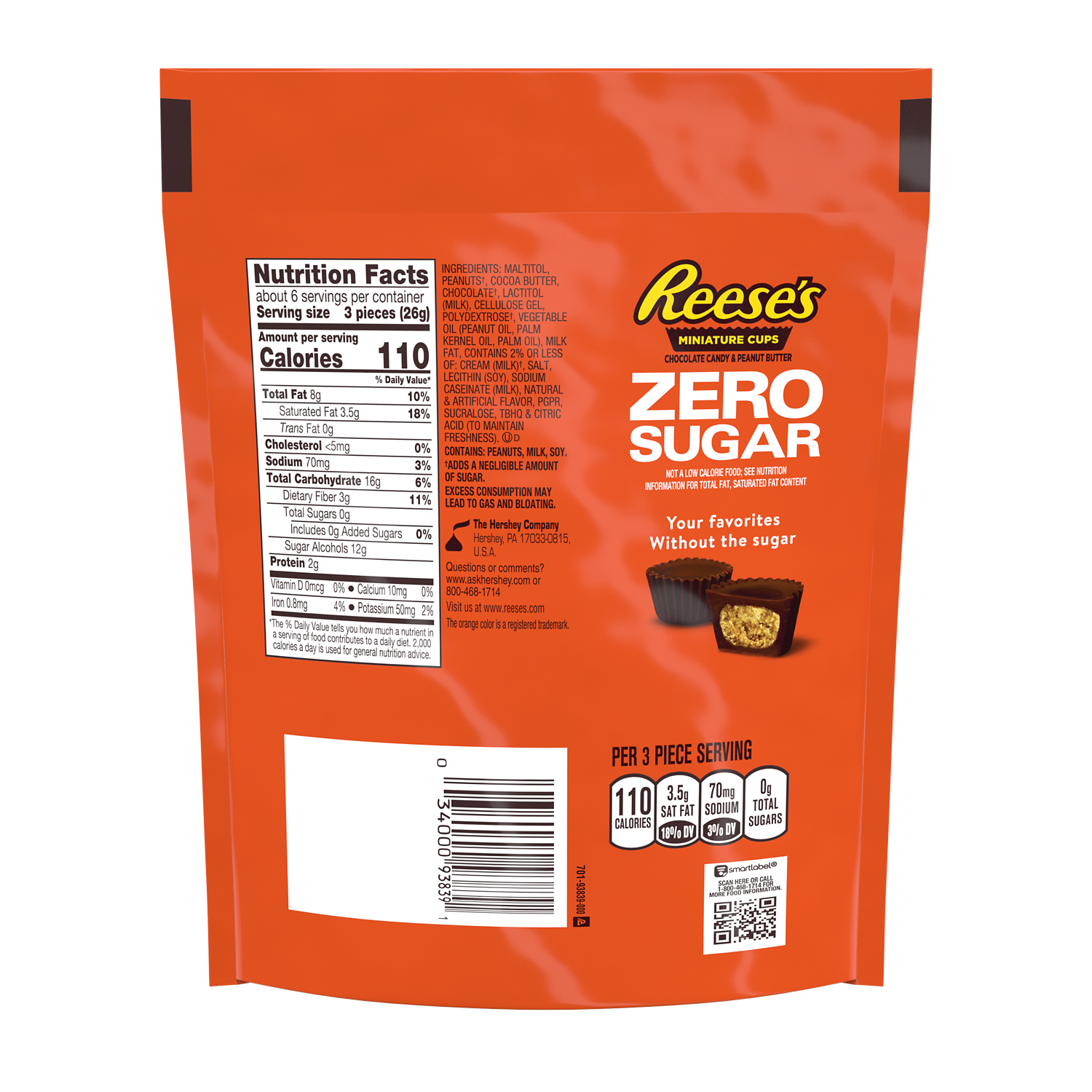 REESE'S Zero Sugar Miniatures Chocolate Candy Peanut Butter Cups, 5.1 oz bag - Back of Package