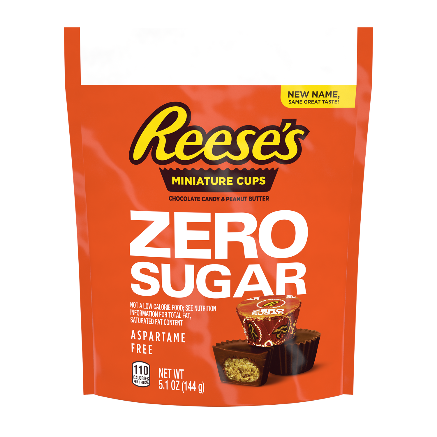 REESE'S Zero Sugar Miniatures Chocolate Candy Peanut Butter Cups, 5.1 oz bag - Front of Package
