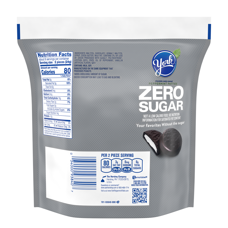 YORK Zero Sugar Dark Chocolate Candy Peppermint Patties, 5.1 oz bag - Back of Package
