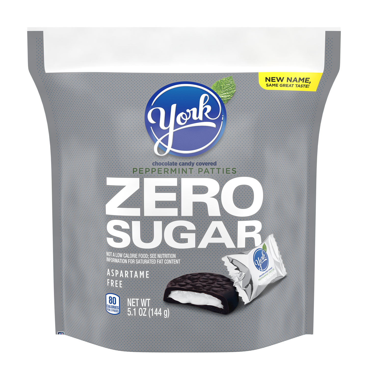 YORK Zero Sugar Dark Chocolate Candy Peppermint Patties, 5.1 oz bag - Front of Package