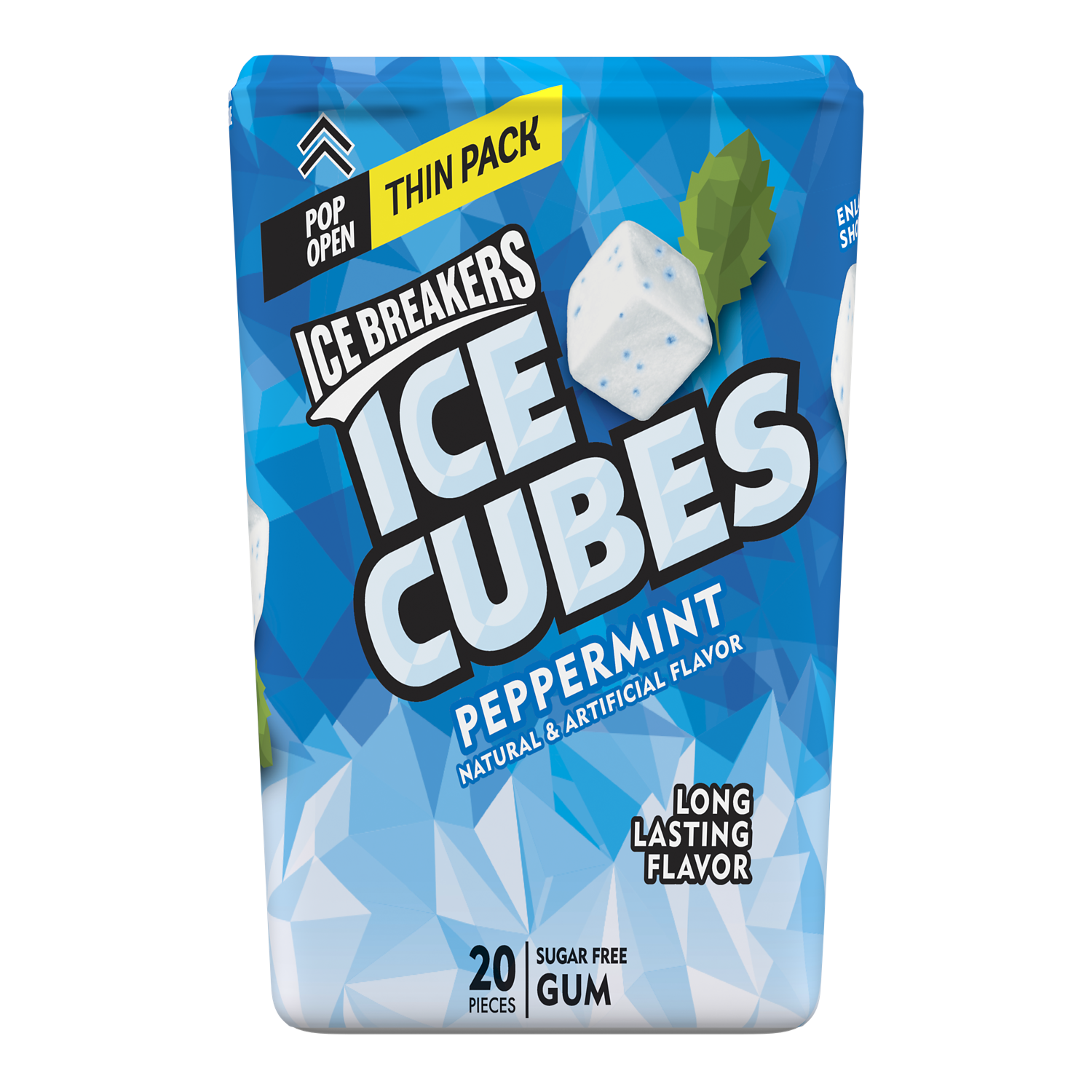 ICE BREAKERS ICE CUBES Peppermint Sugar Free Gum, 1.62 oz thin pack, 20 pieces - Front of Package