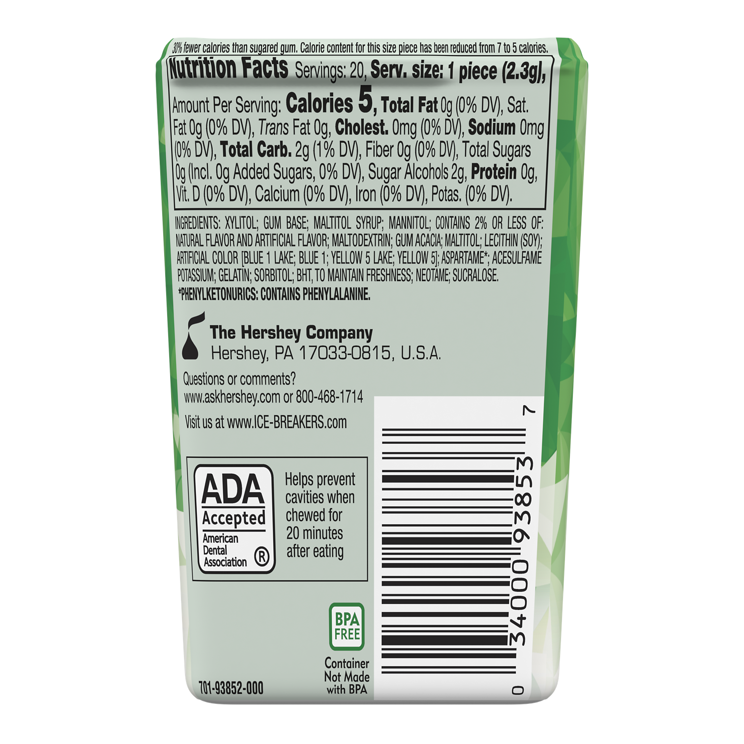 ICE BREAKERS ICE CUBES Spearmint Sugar Free Gum, 1.62 oz thin pack, 20 pieces - Back of Package