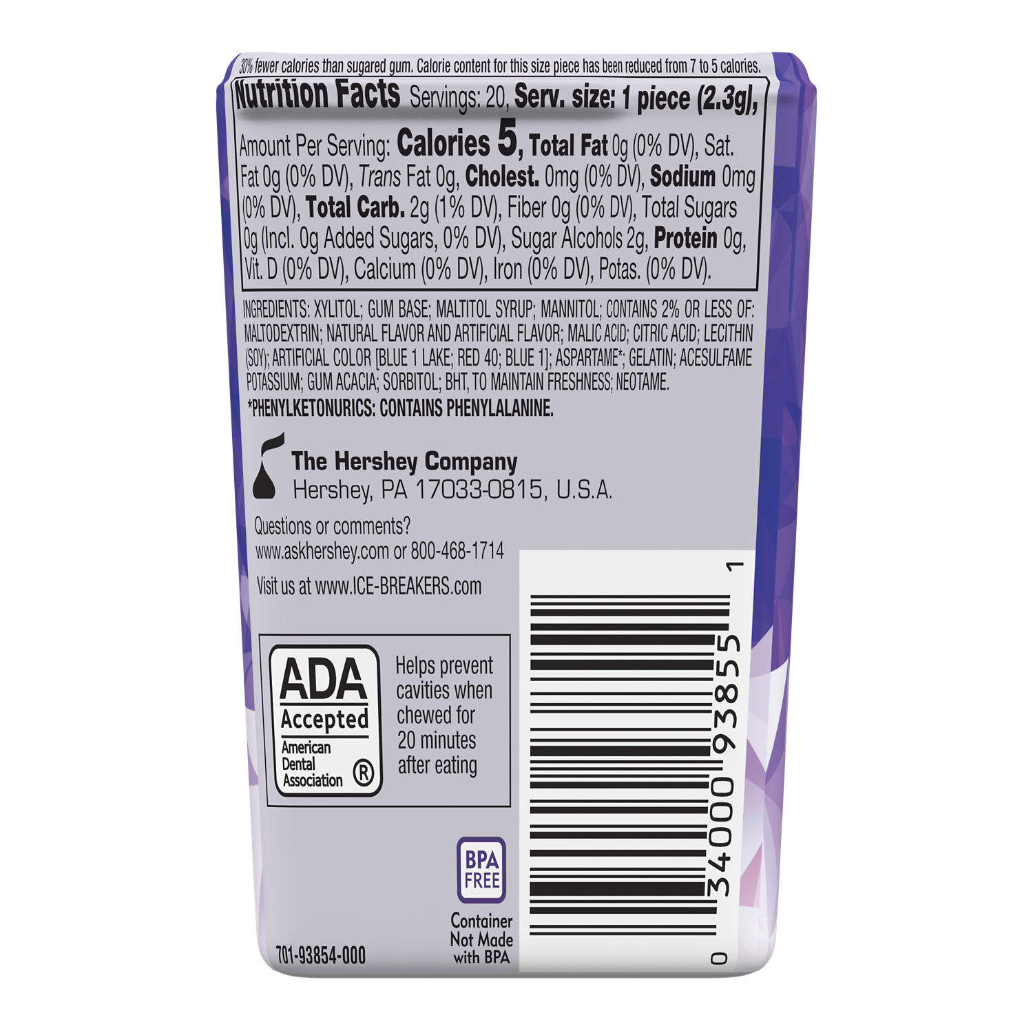 ICE BREAKERS ICE CUBES ARCTIC GRAPE Sugar Free Gum, 1.62 oz thin pack, 20 pieces - Back of Package