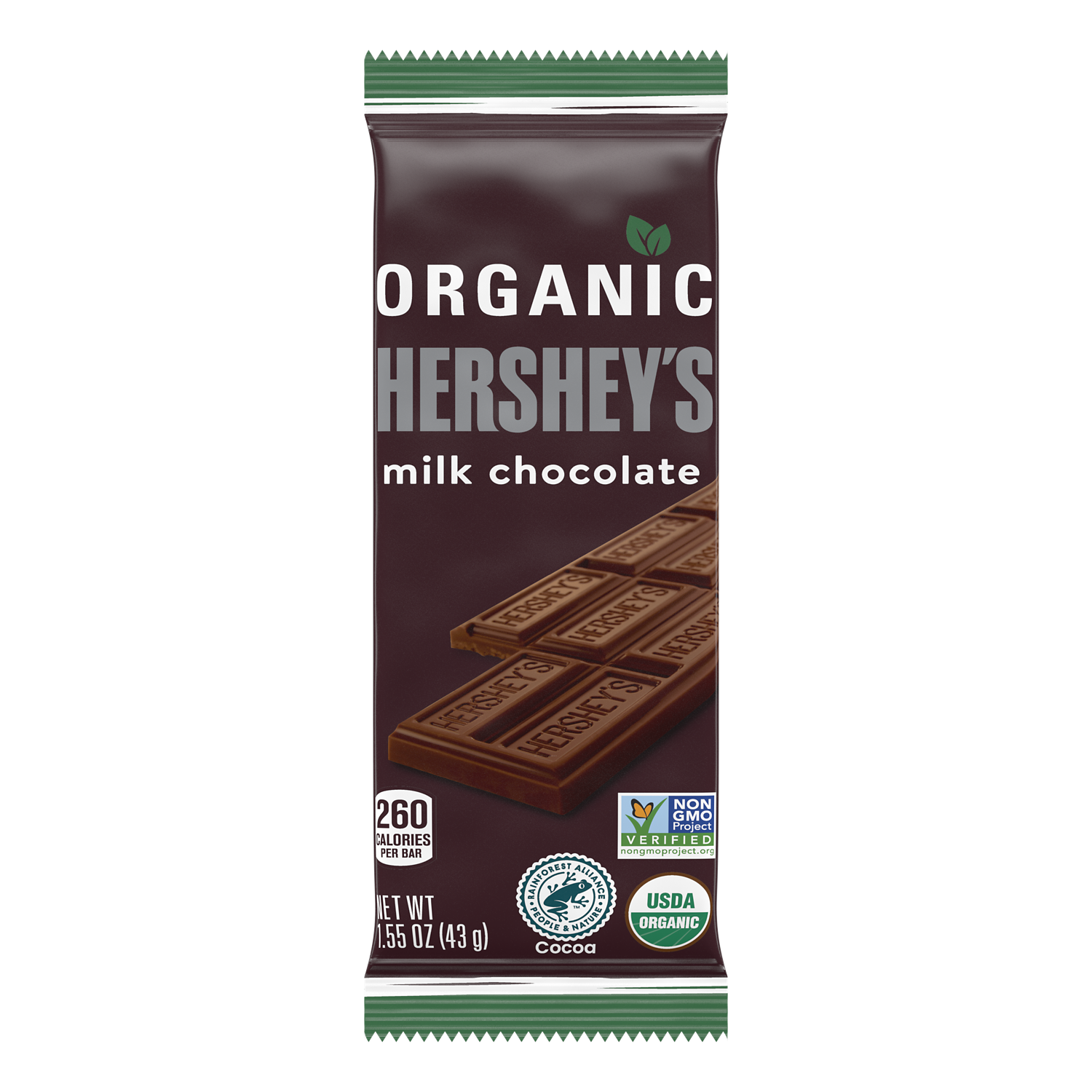 HERSHEY'S Organic Milk Chocolate Candy Bar, 1.55 oz - Front of Package