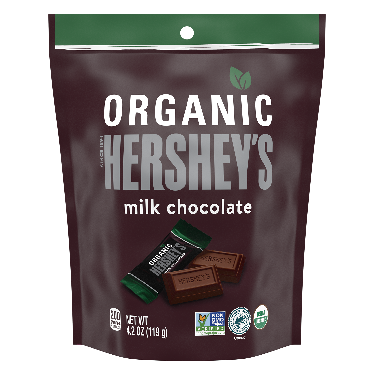 HERSHEY'S Organic Miniatures Milk Chocolate Candy Bars, 4.2 oz bag - Front of Package