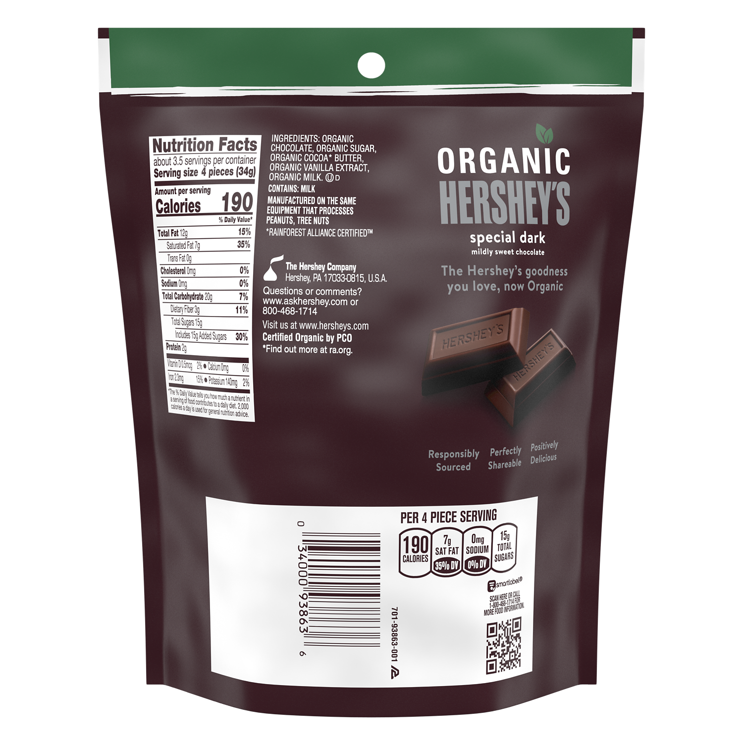 HERSHEY'S SPECIAL DARK Organic Miniatures Chocolate Candy Bars, 4.2 oz bag - Back of Package