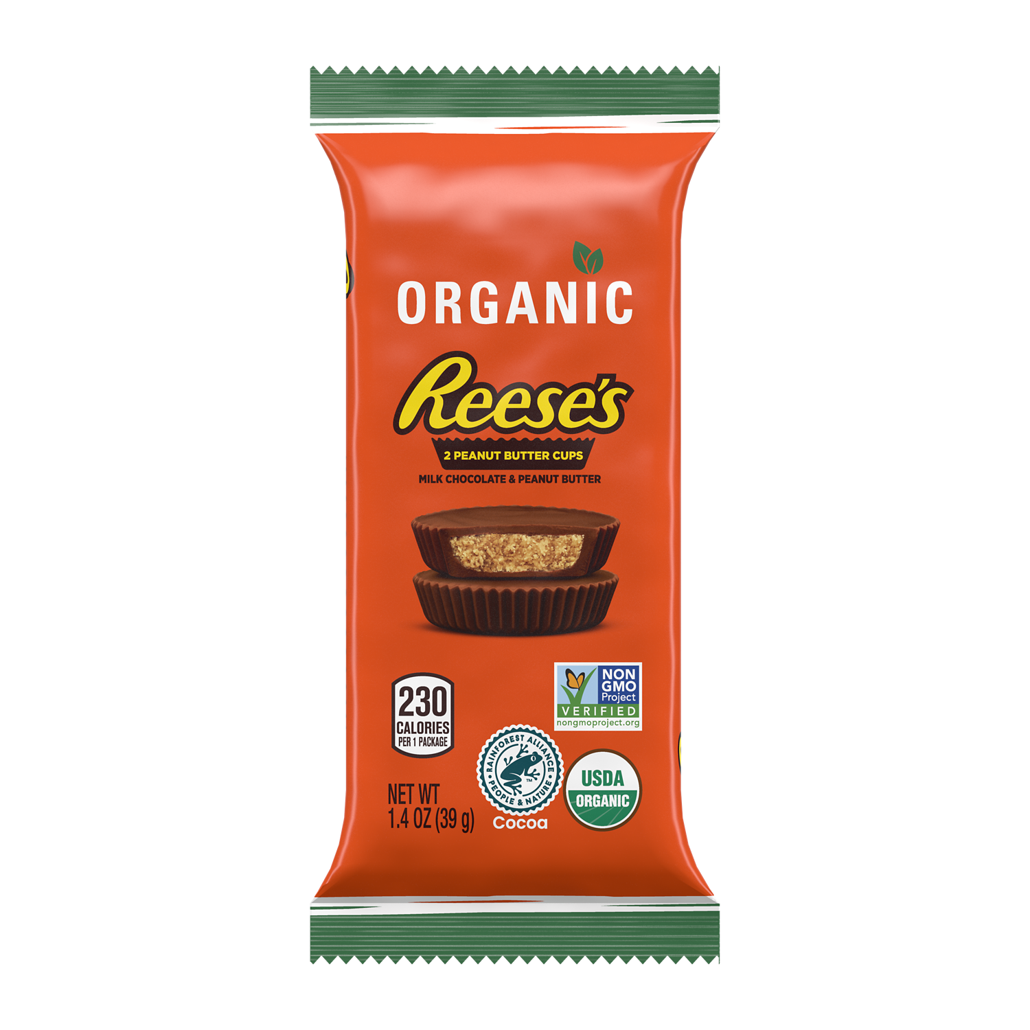 REESE'S Organic Milk Chocolate Peanut Butter Cups, 1.4 oz - Front of Package