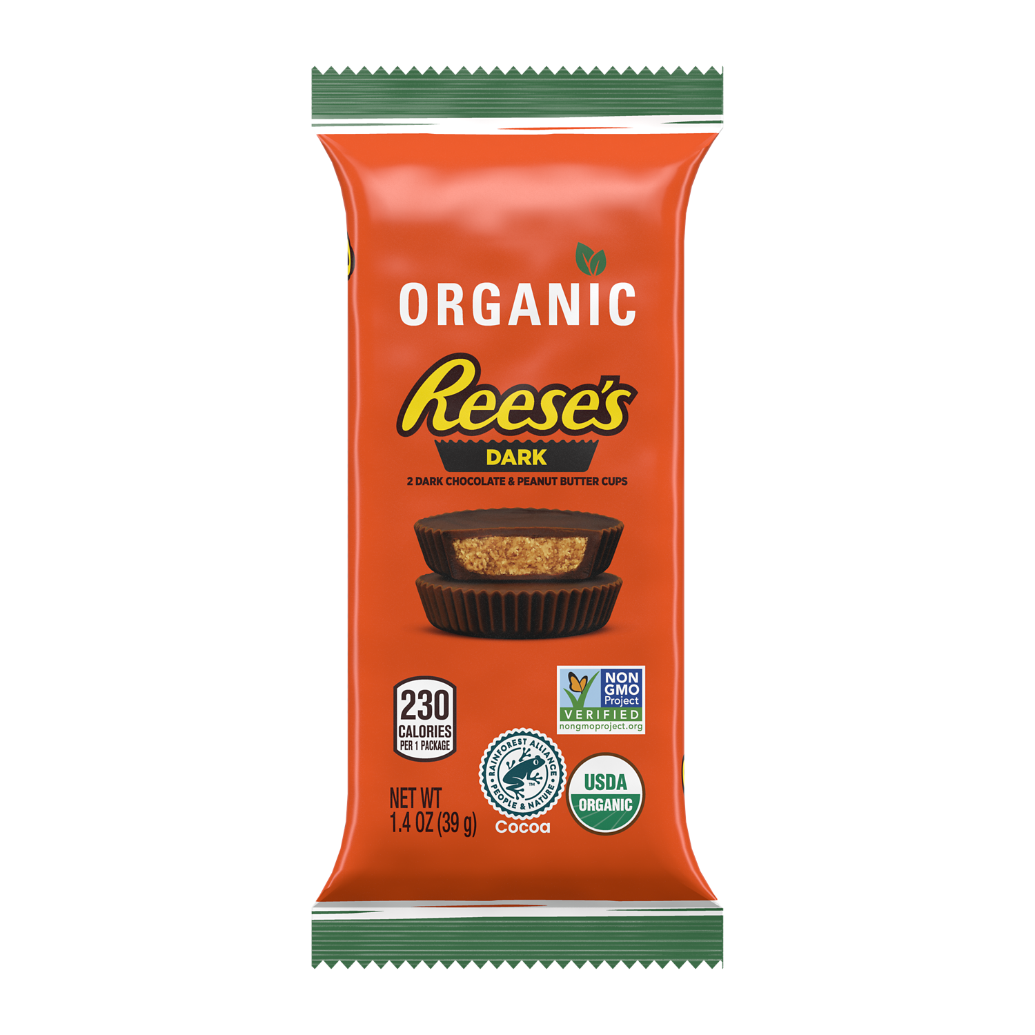 REESE'S Organic Dark Chocolate Peanut Butter Cups, 1.4 oz - Front of Package