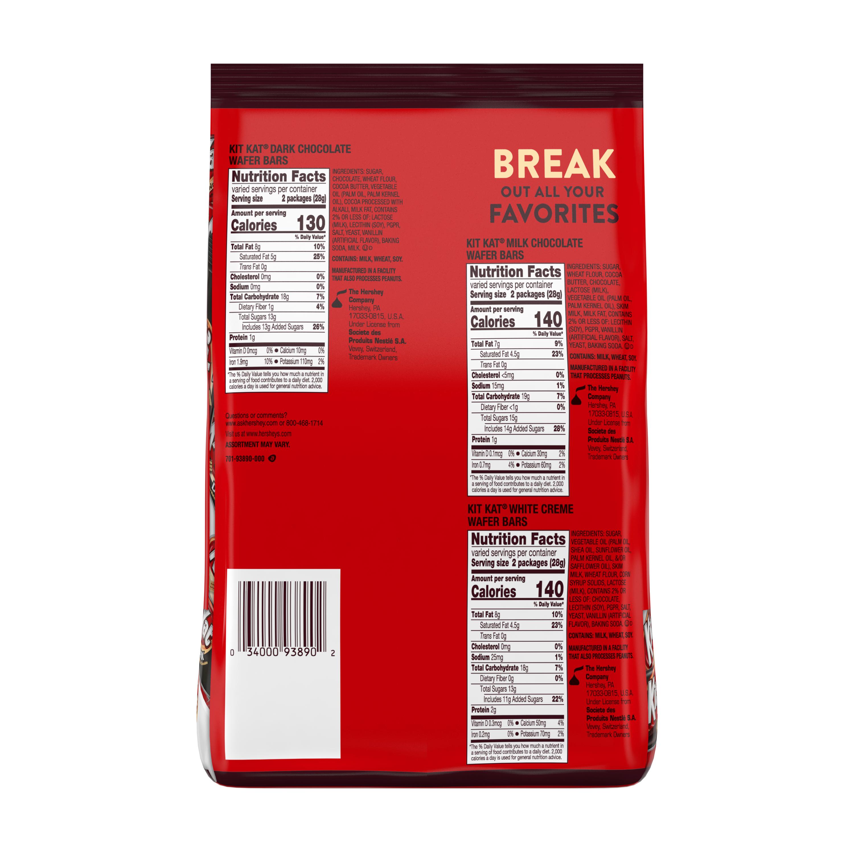KIT KAT® Snack Size Assortment, 31.36 oz bag - Back of Package
