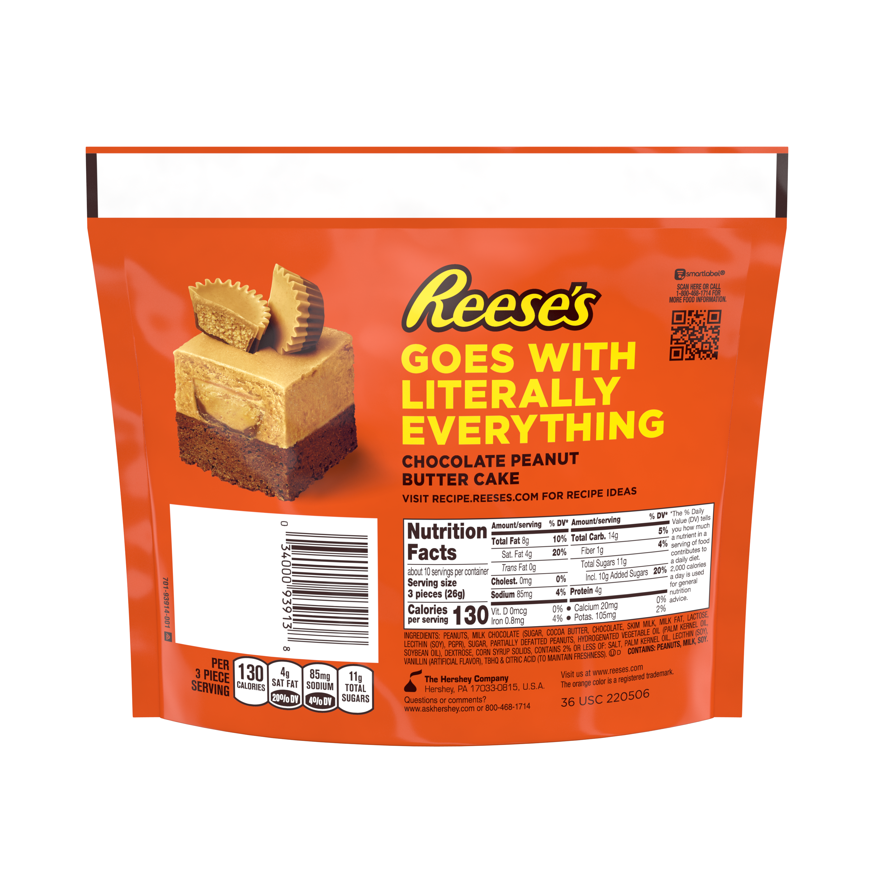 REESE'S Miniatures Peanut Butter Lovers Milk Chocolate Peanut Butter Cups, 9.3 oz bag - Back of Package
