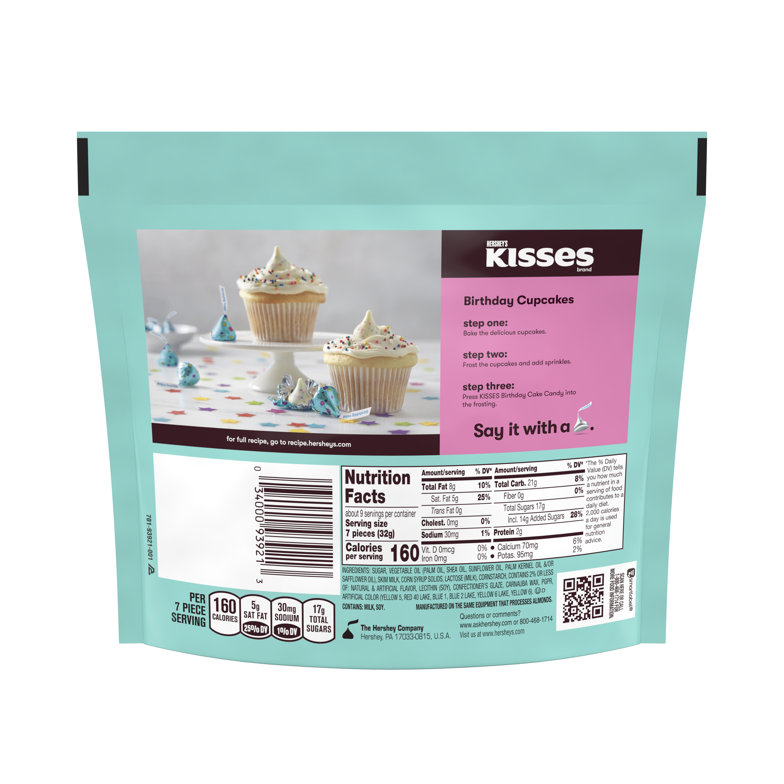 HERSHEY'S KISSES Birthday Cake Candy, 10 oz pack - Back of Package