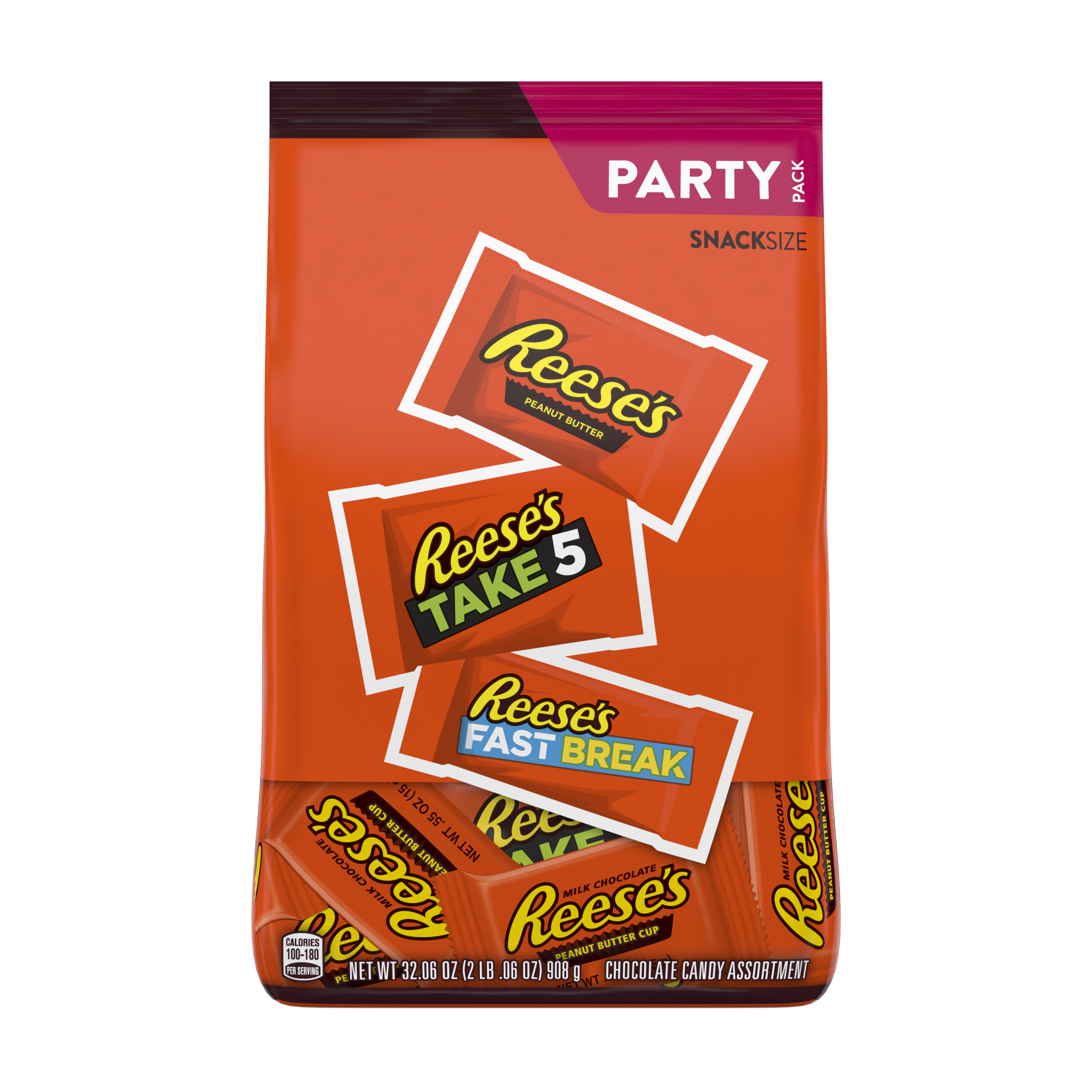 REESE'S Milk Chocolate Peanut Butter Snack Size Assortment, 32.06 oz bag - Front of Package