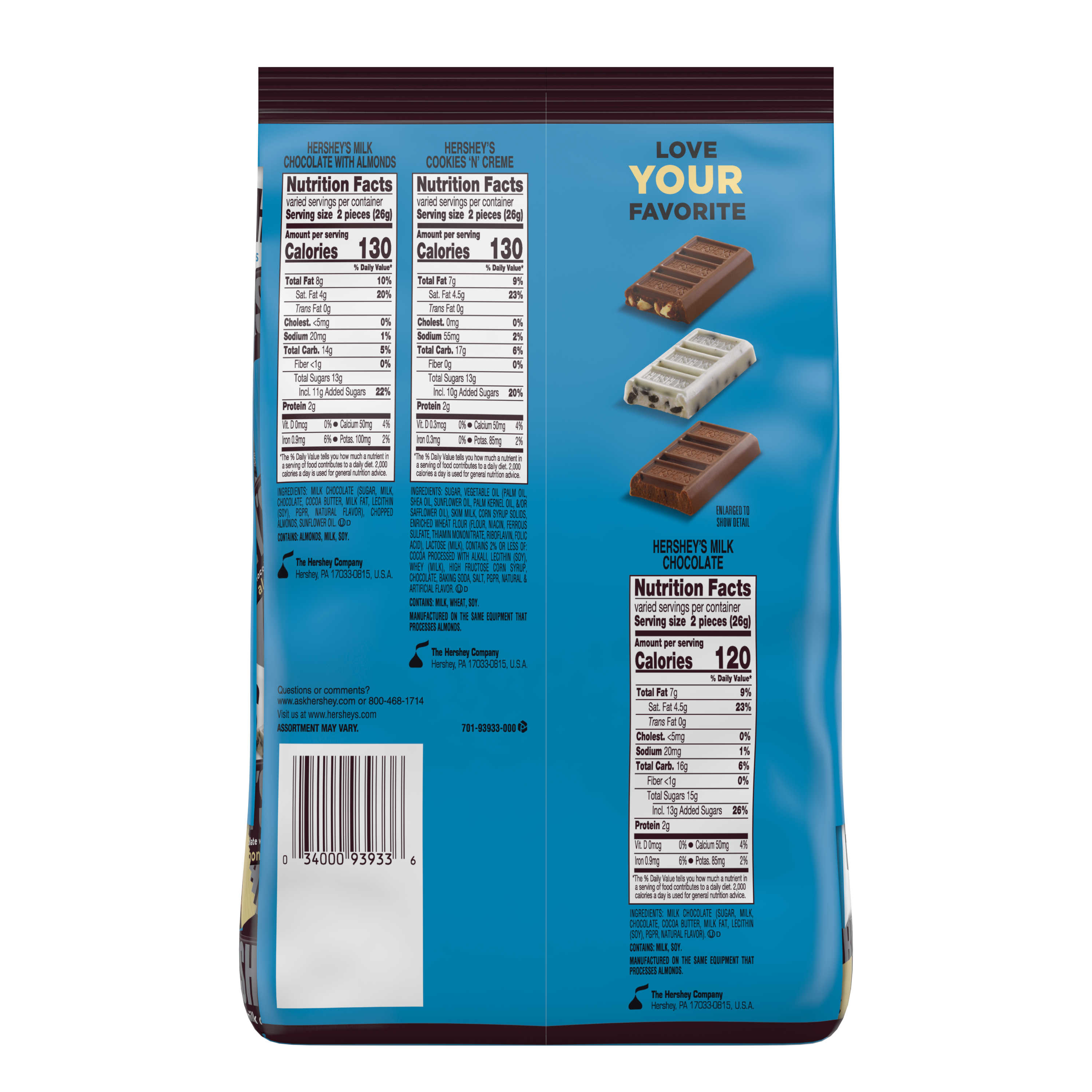 HERSHEY'S Snack Size Assortment, 31.5 oz bag - Back of Package