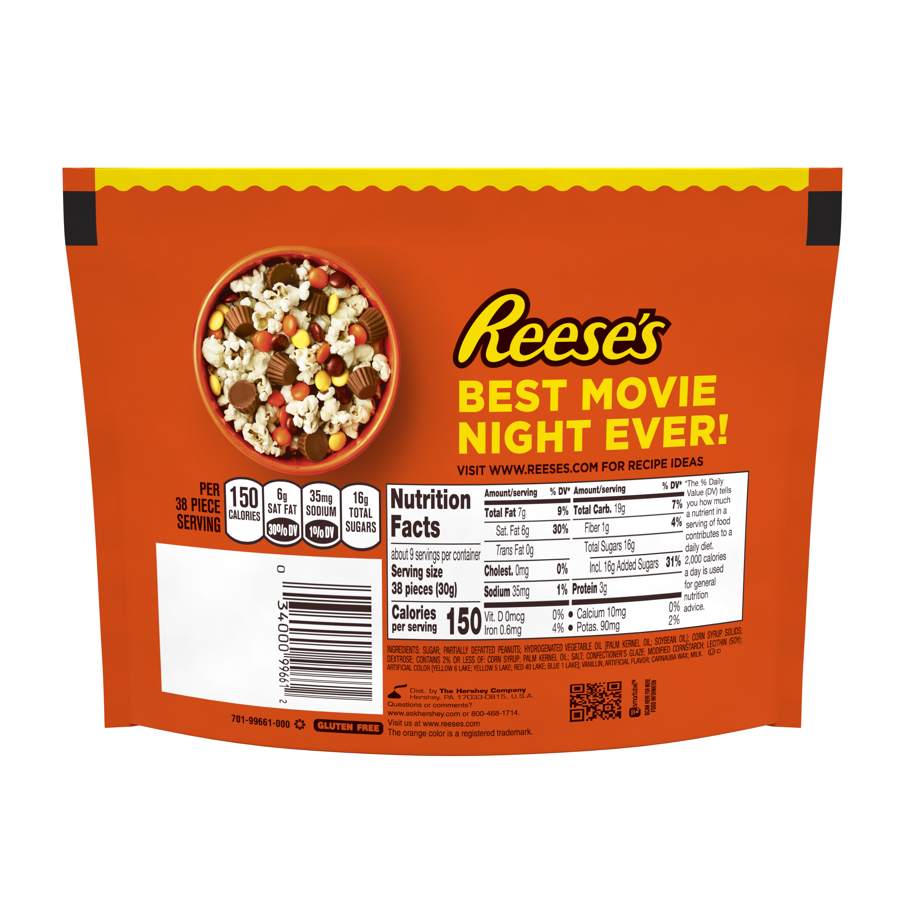 REESE'S PIECES Milk Chocolate Peanut Butter Candy, 9.9 oz bag - Back of Package
