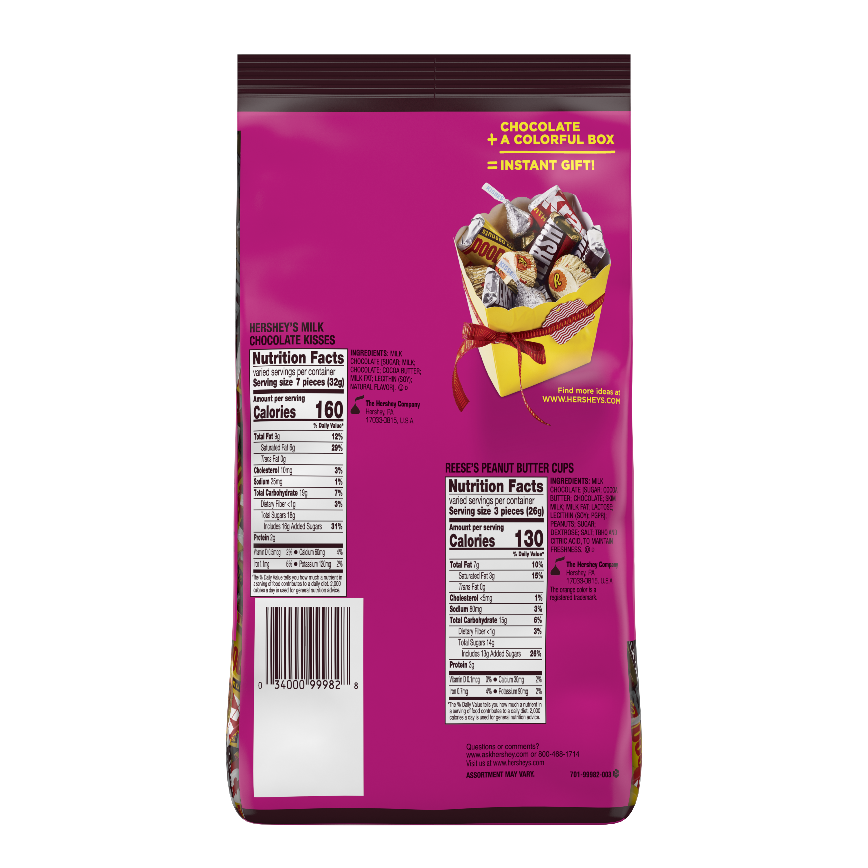 Hershey Miniature Assortment, 35 oz bag - Back of Package