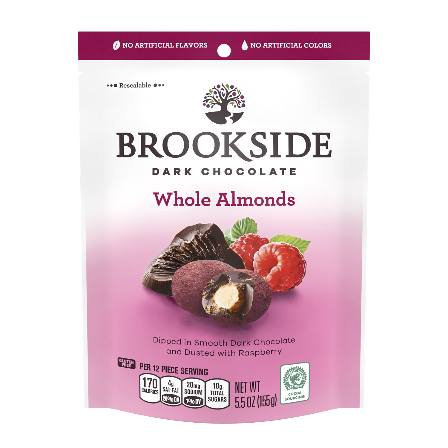 BROOKSIDE Dark Chocolate Whole Almonds Dusted with Raspberry Candy, 5.5 oz bag - Front of Package
