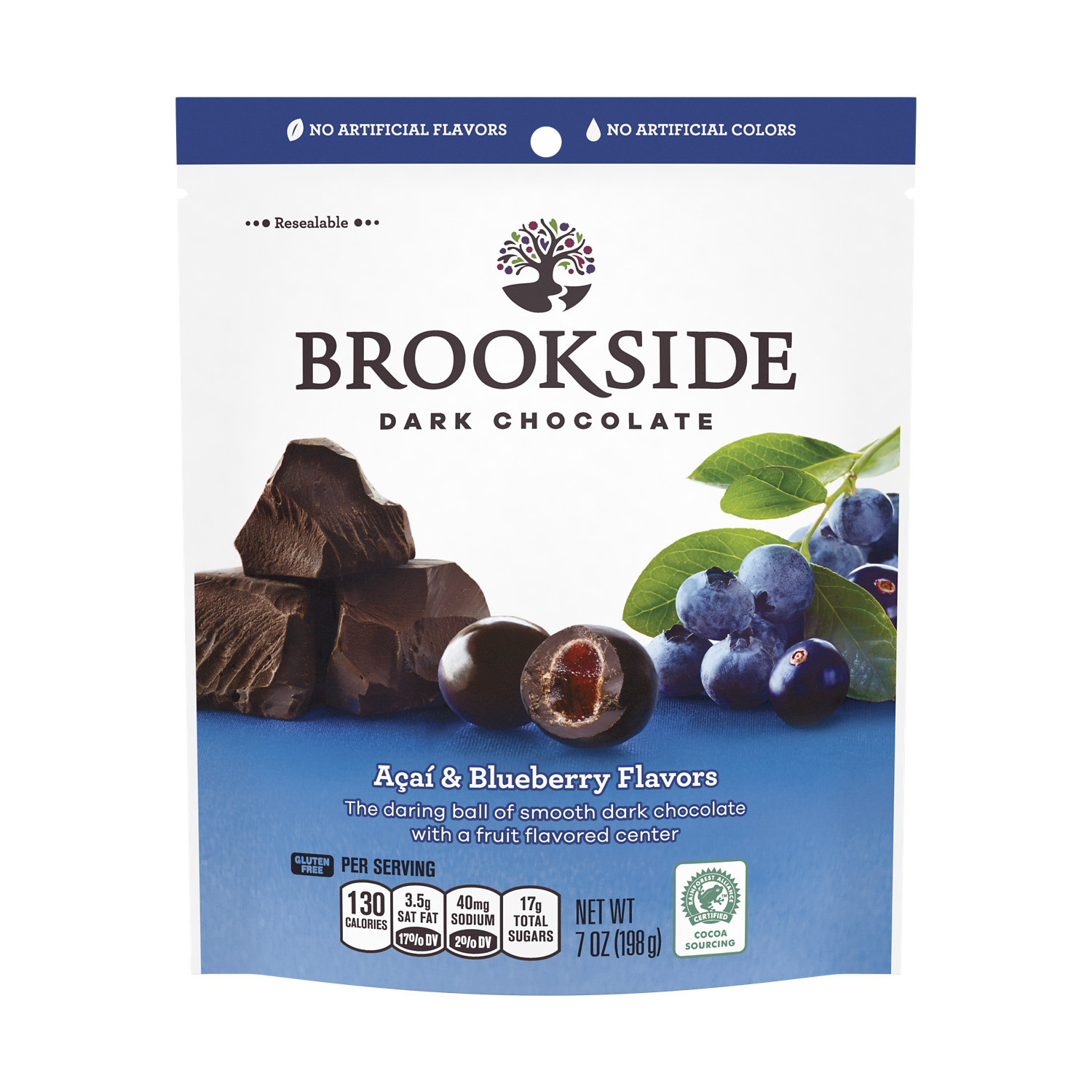 BROOKSIDE Dark Chocolate Açai and Blueberry Candy, 7 oz bag - Front of Package