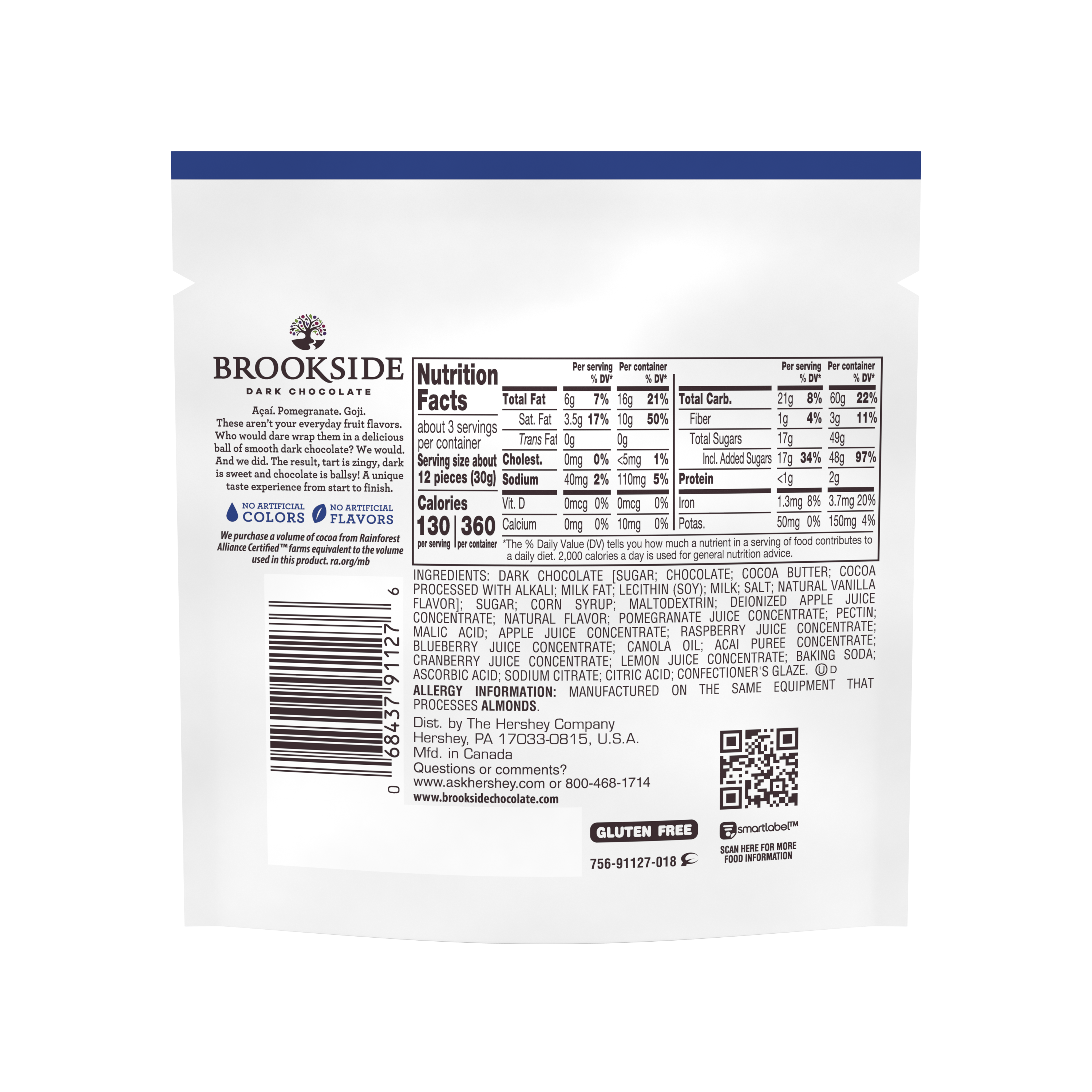 BROOKSIDE Dark Chocolate Acai & Blueberry Candy, 3 oz bag - Back of Package