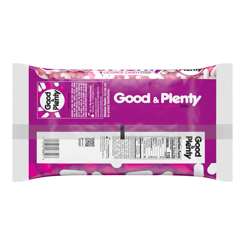 GOOD & PLENTY Licorice Candy, 80 oz bag - Back of Package