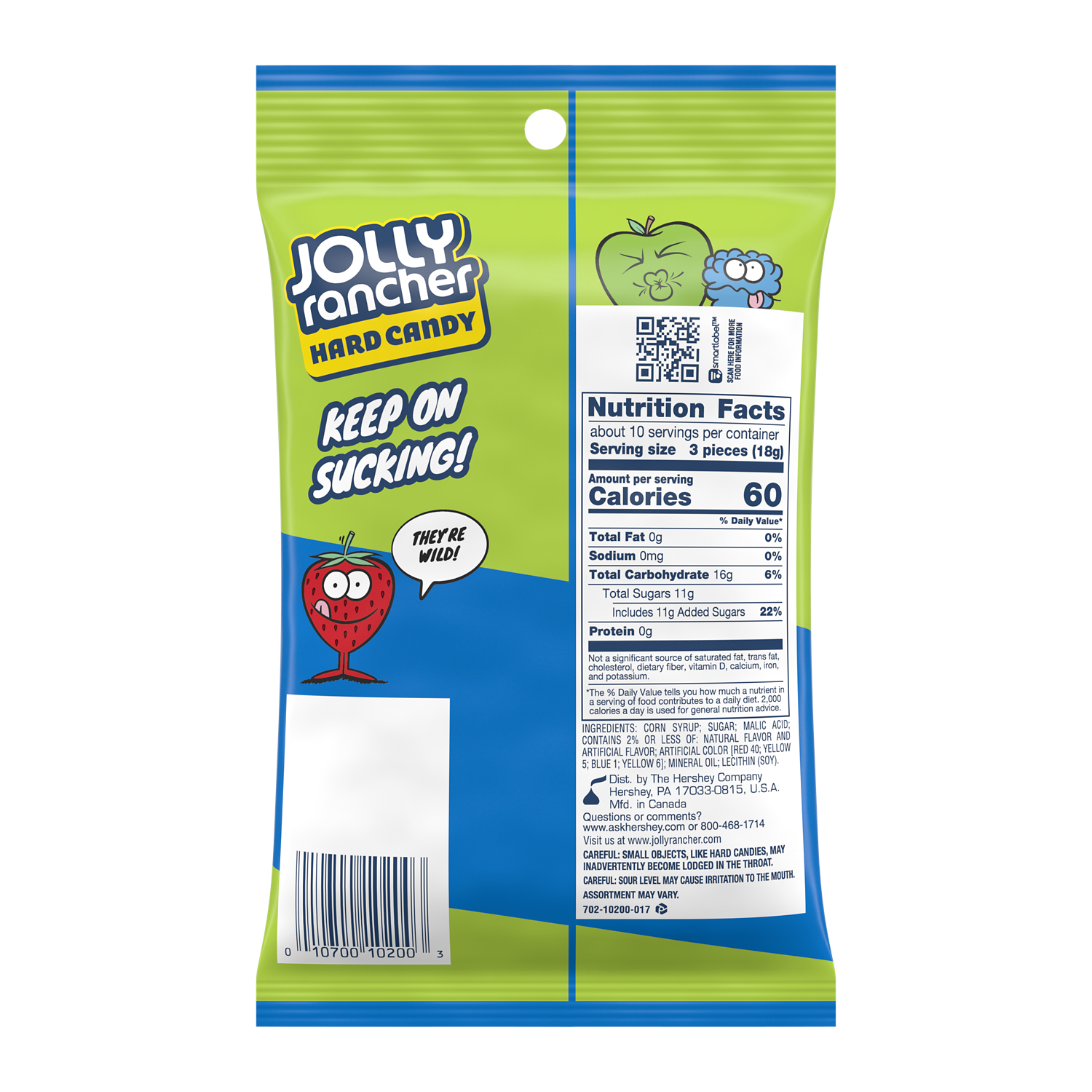 JOLLY RANCHER Fruit 'N Sour Hard Candy, 6.5 oz bag - Back of Package