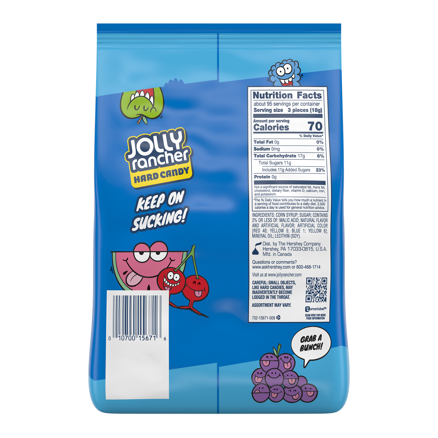 JOLLY RANCHER Original Flavors Hard Candy, 60 oz bag - Back of Package