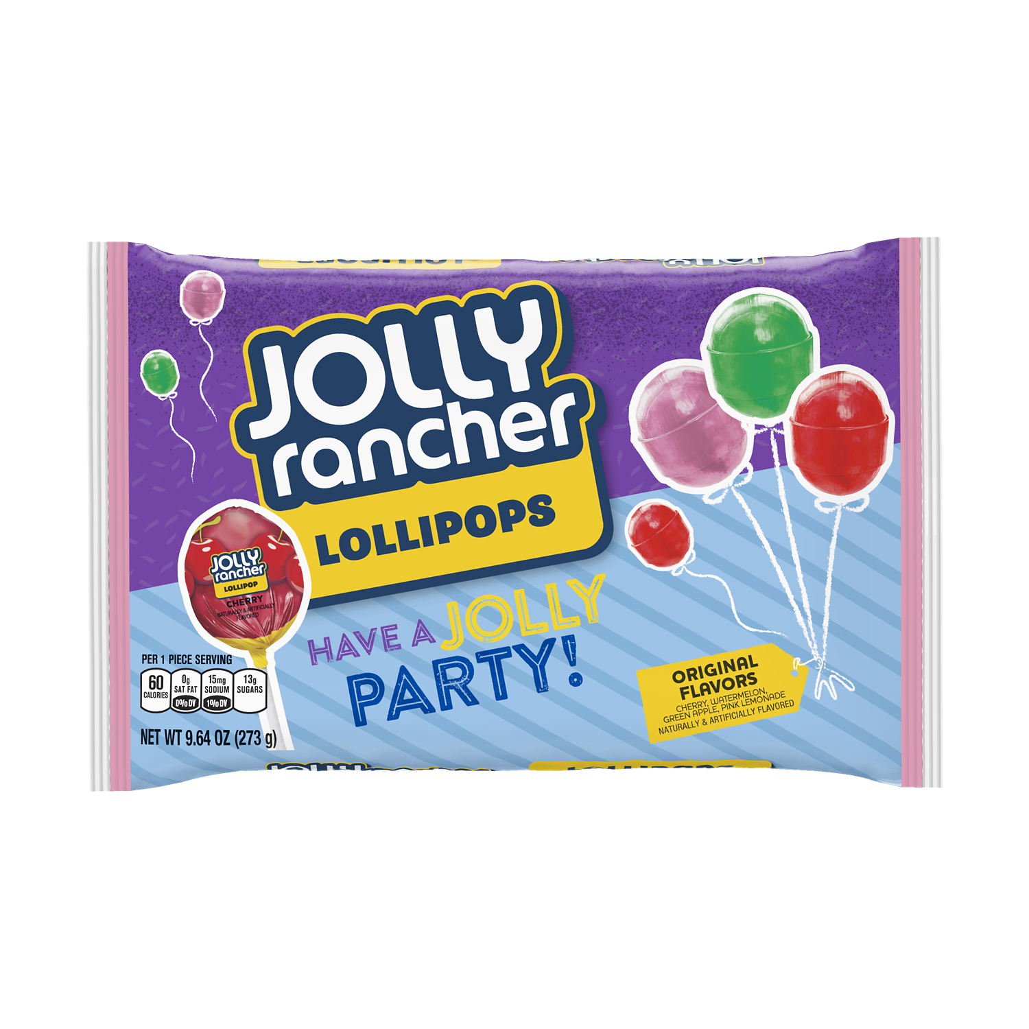 JOLLY RANCHER Original Flavors Lollipops, 9.64 oz bag - Front of Package