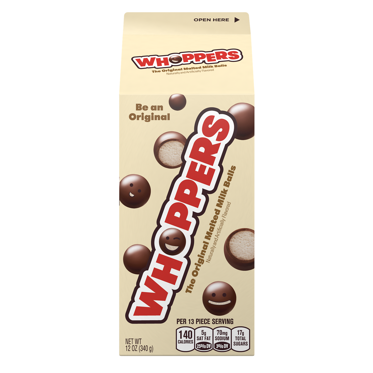 WHOPPERS Milk Chocolate Malted Milk Balls, 12 oz carton - Front of Package