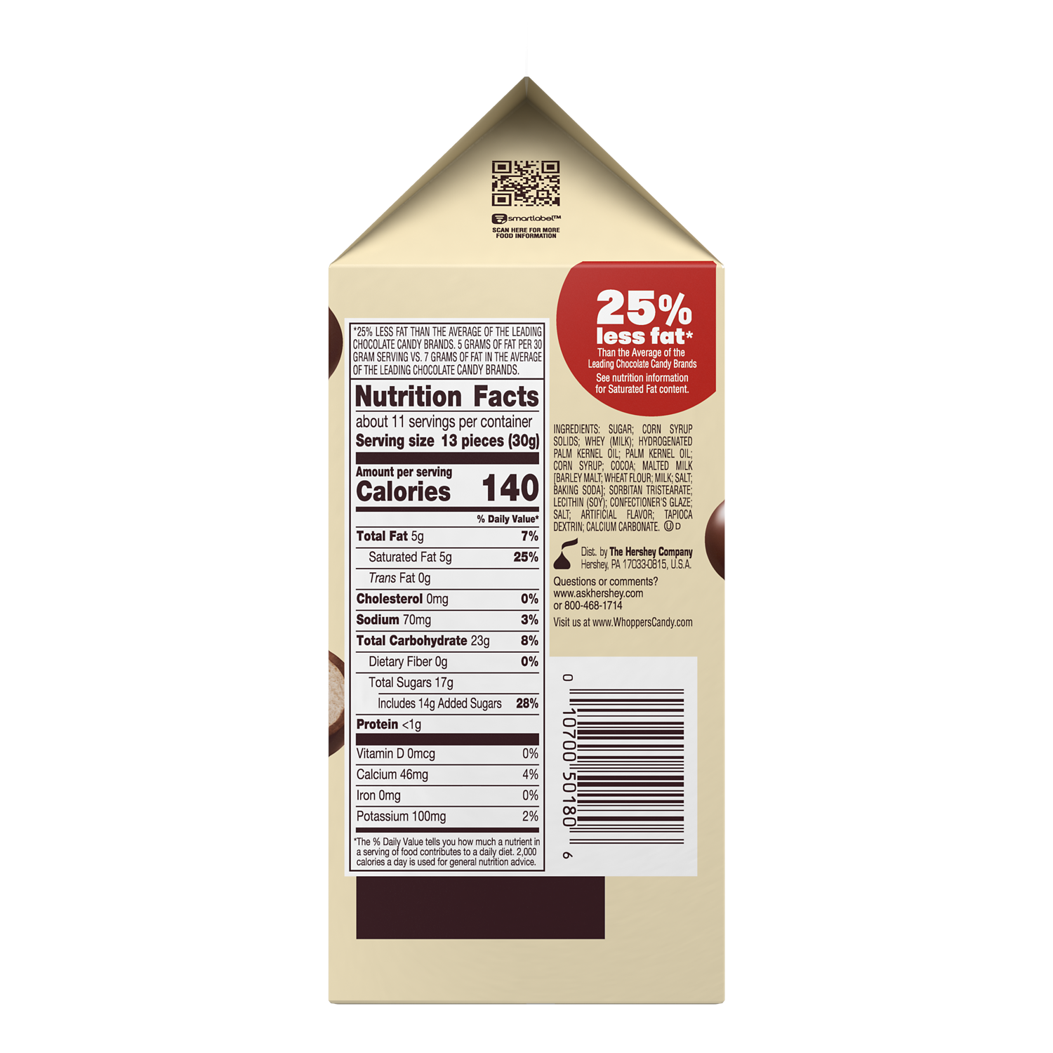 WHOPPERS Milk Chocolate Malted Milk Balls, 12 oz carton - Back of Package