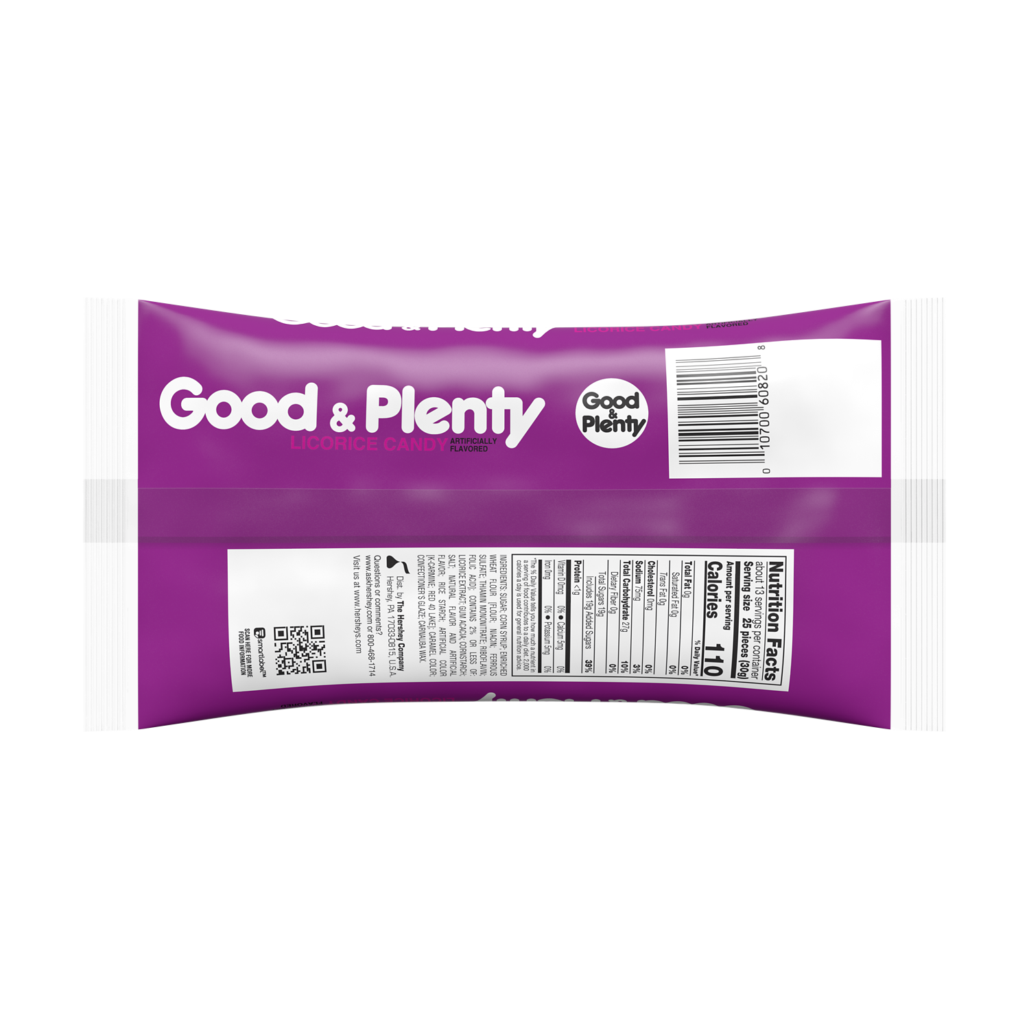 GOOD & PLENTY Licorice Candy, 14 oz bag - Back of Package