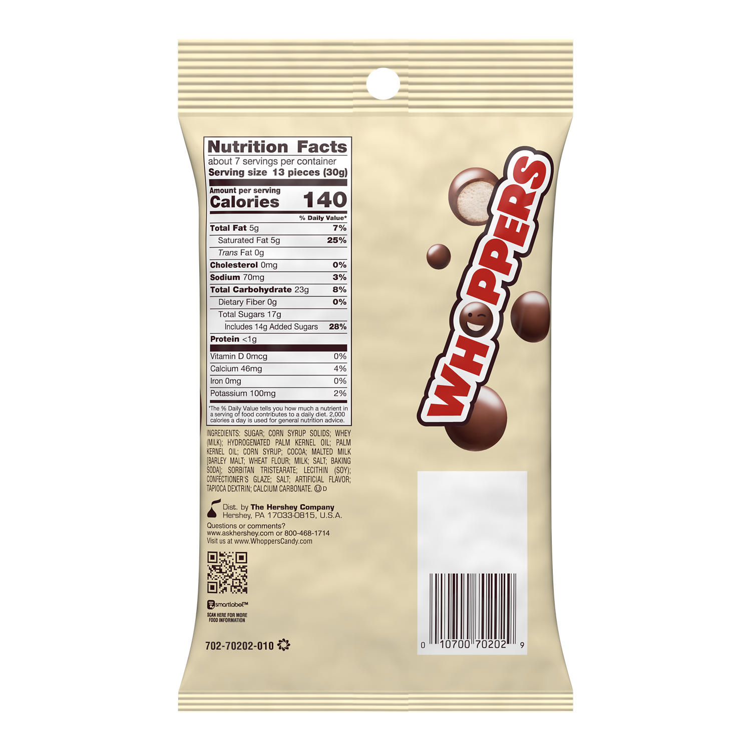 WHOPPERS Milk Chocolate Malted Milk Balls, 7 oz bag - Back of Package