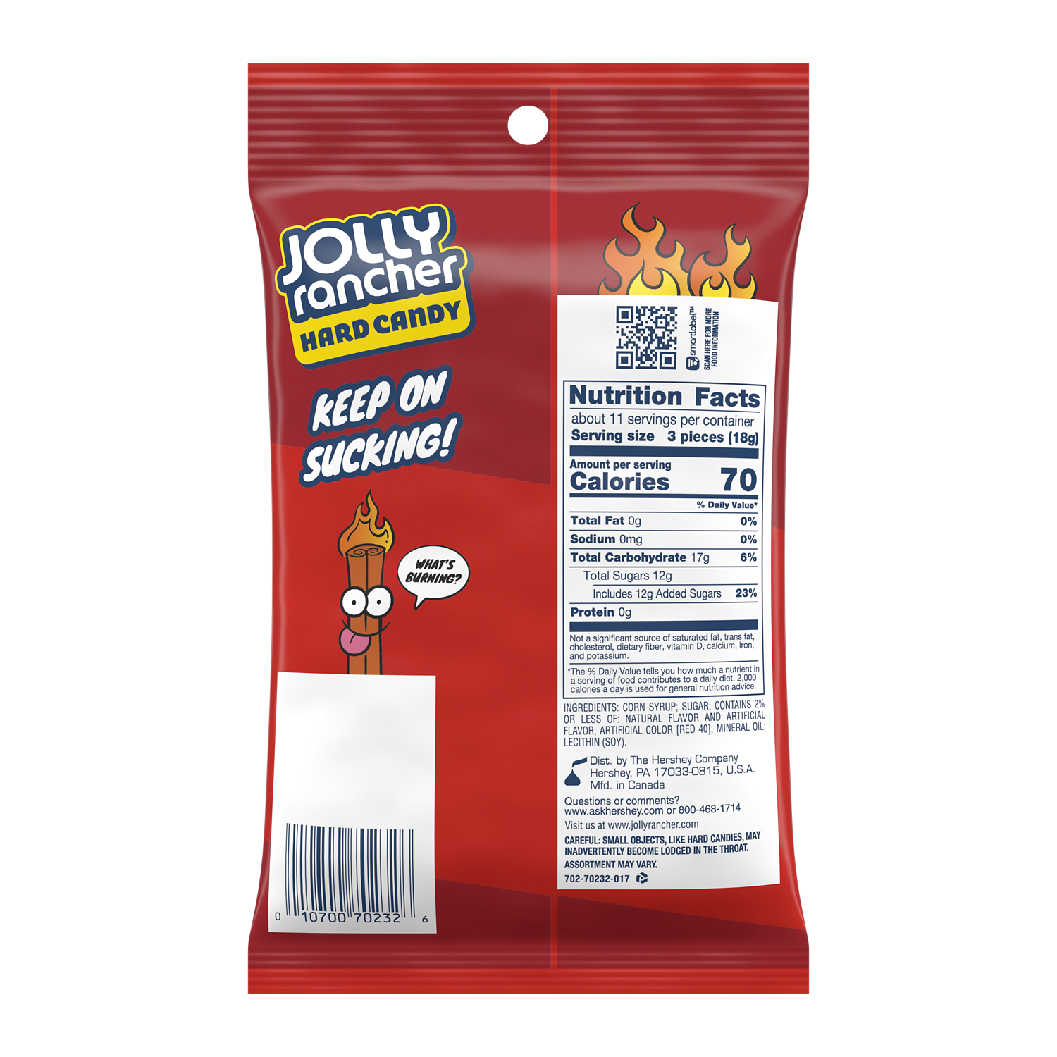 JOLLY RANCHER Cinnamon Fire Hard Candy, 7 oz bag - Back of Package