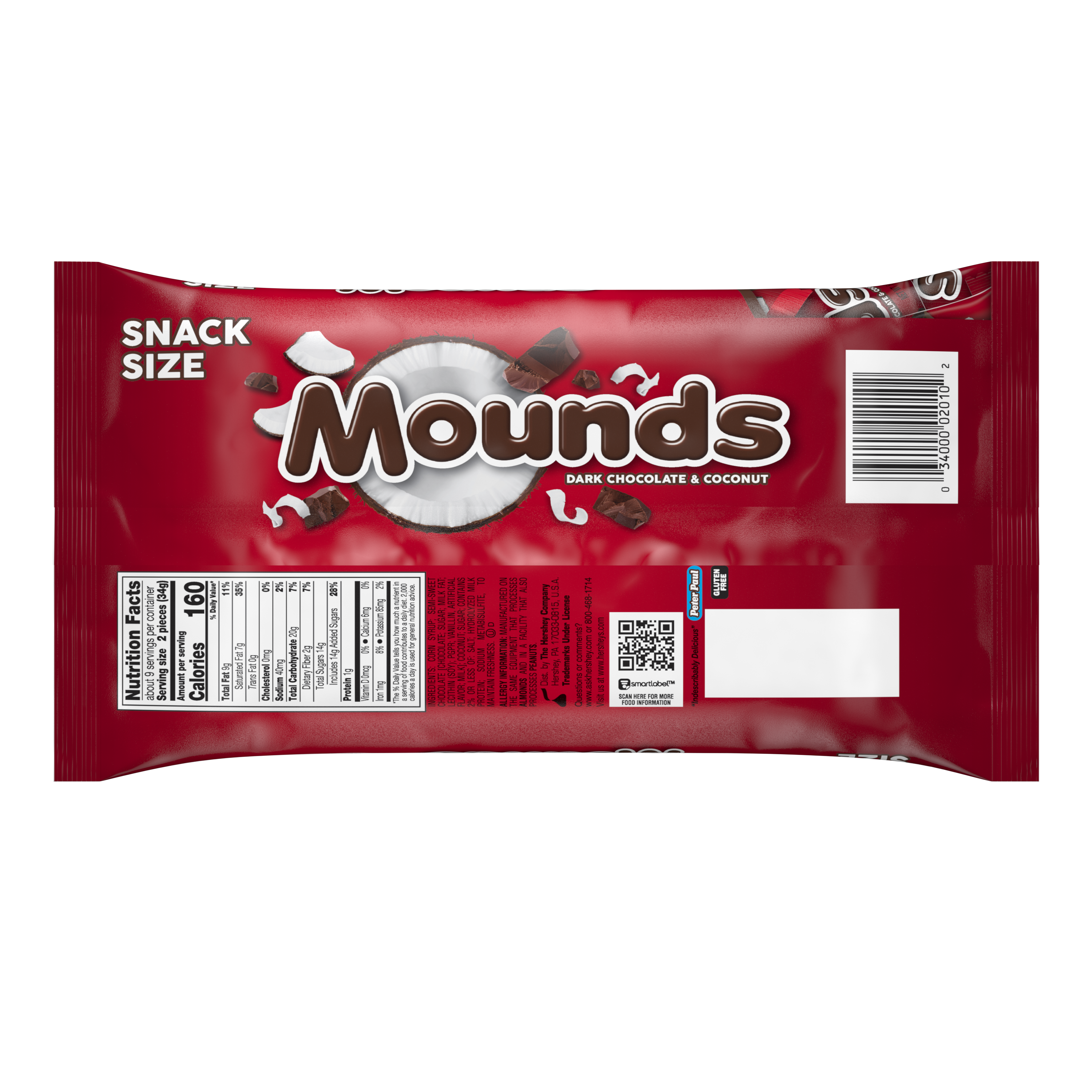 MOUNDS Dark Chocolate and Coconut Snack Size Candy Bars, 11.3 oz bag - Back of Package