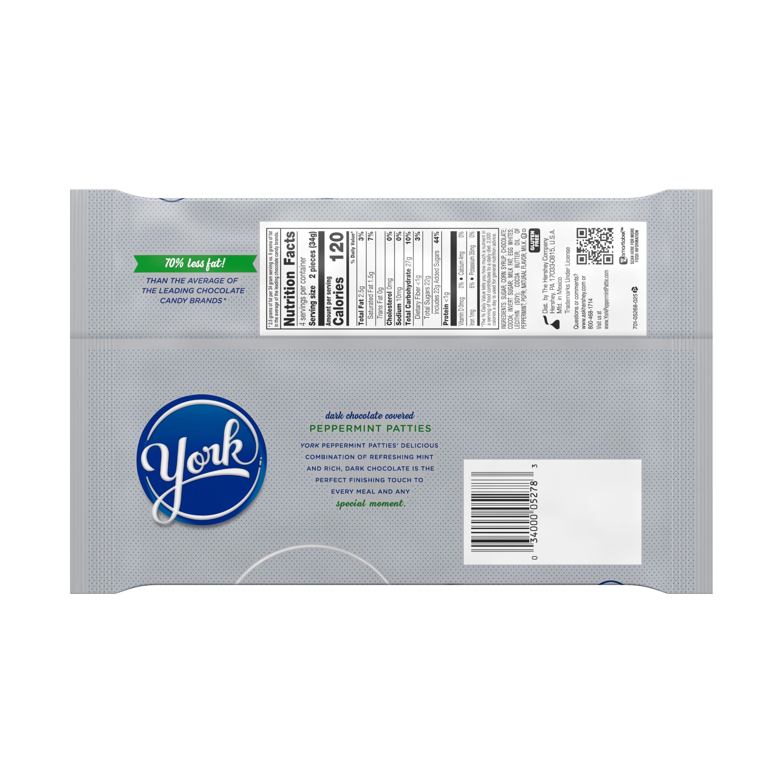 YORK Dark Chocolate Snack Size Peppermint Patties, 4.8 oz bag, 8 pack - Back of Package