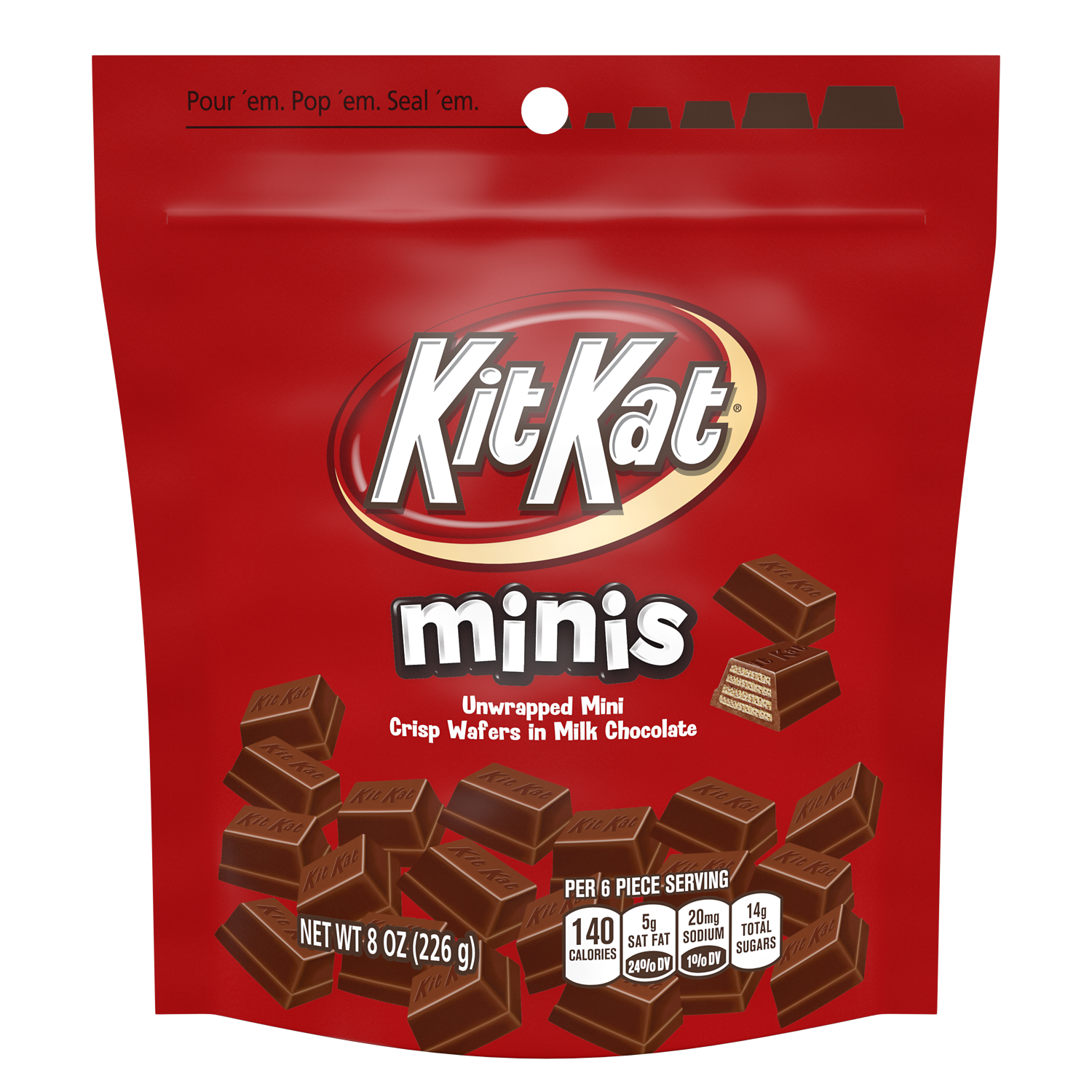 KIT KAT® Minis Milk Chocolate Candy Bars, 8 oz bag - Front of Package