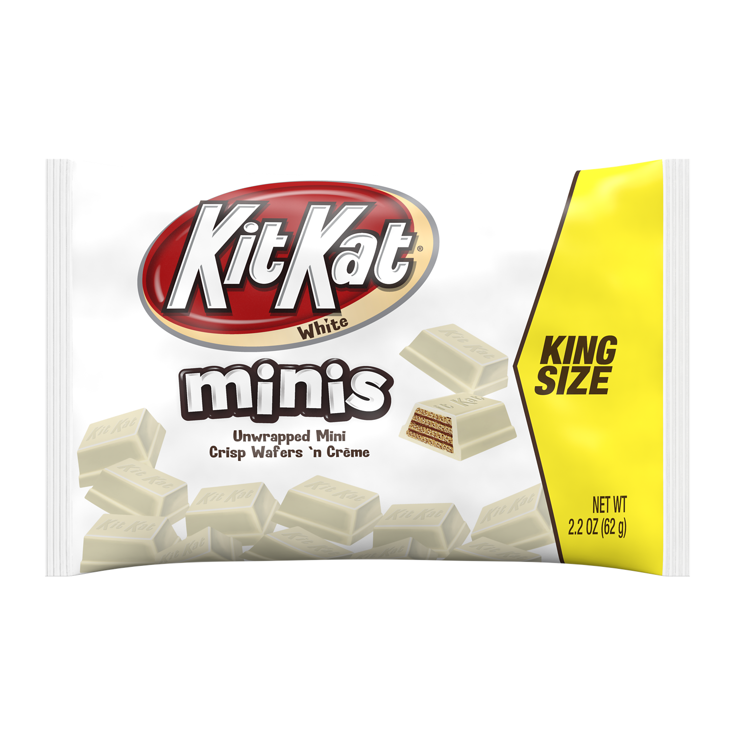 KIT KAT® Minis White Creme King Size Candy Bars, 2.2 oz bag - Front of Package
