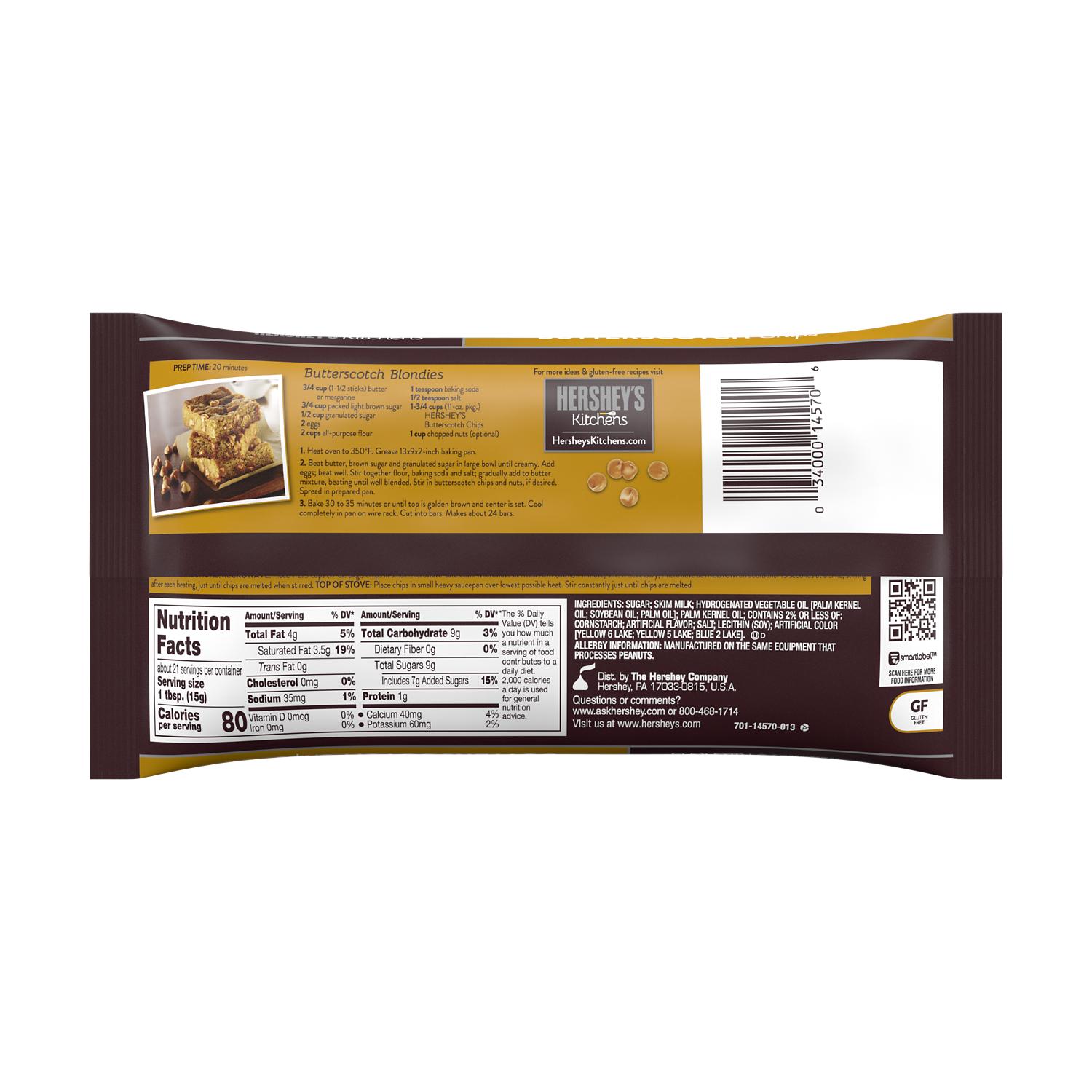 HERSHEY'S Butterscotch Chips, 11 oz bag - Back of Package