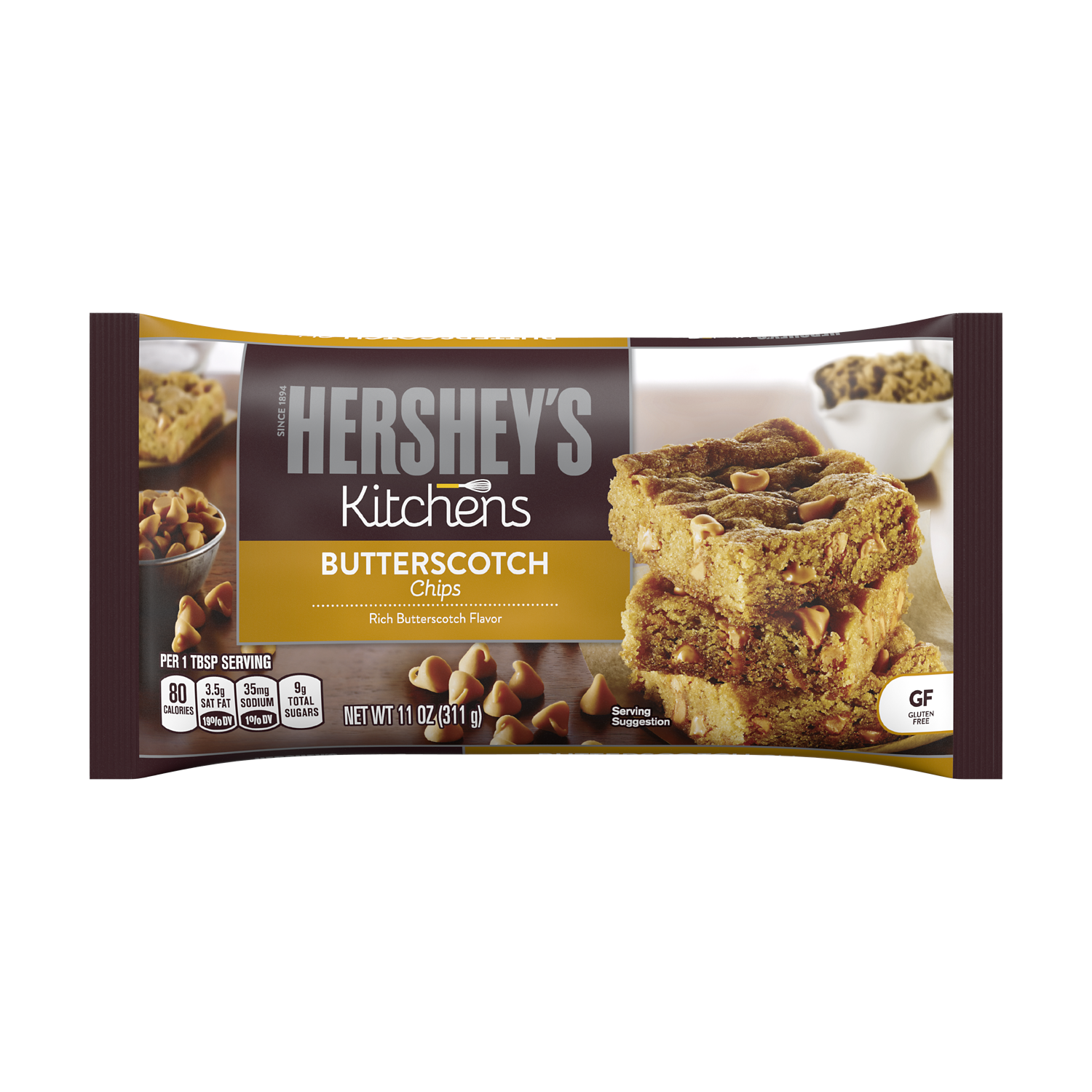 HERSHEY'S Butterscotch Chips, 11 oz bag - Front of Package