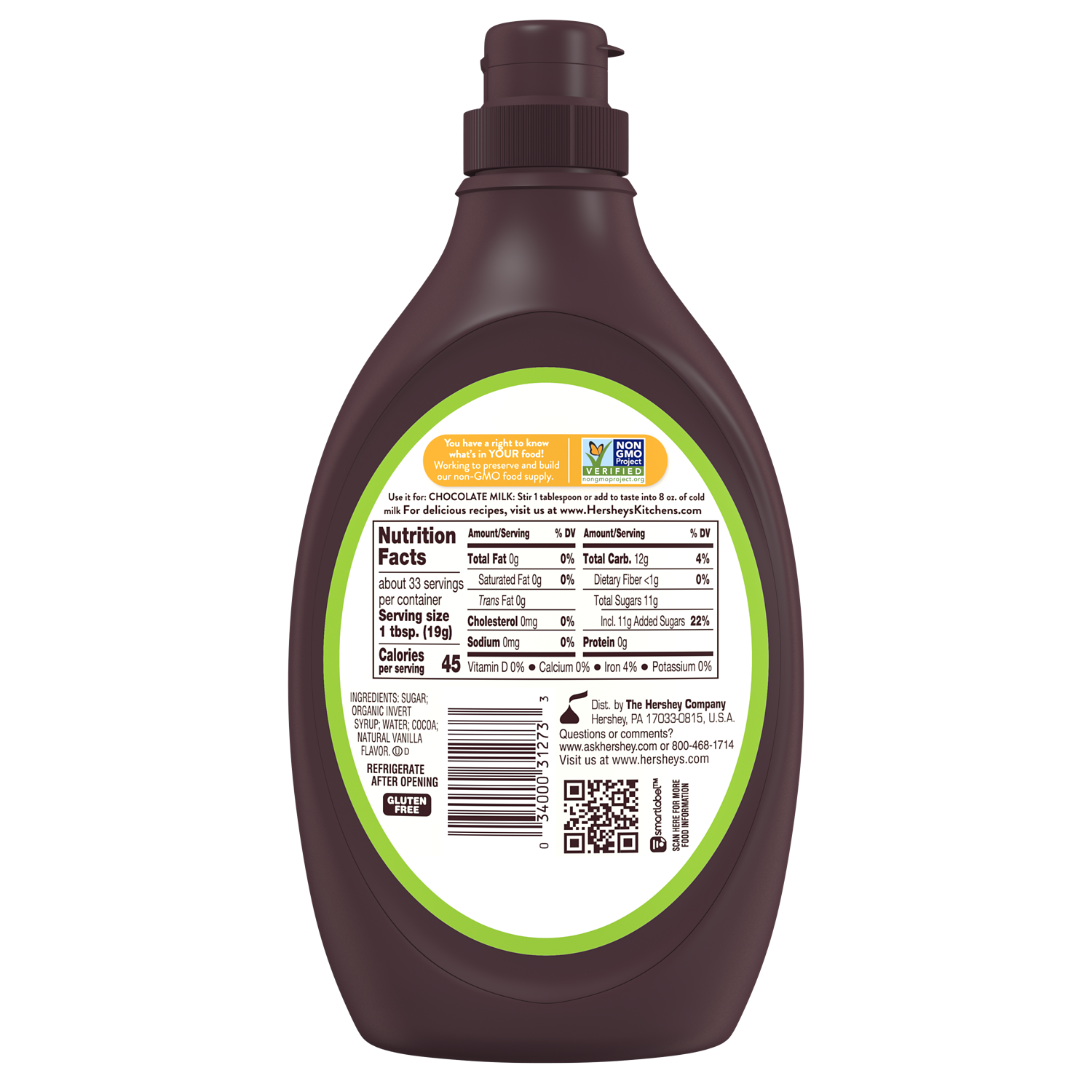 HERSHEY'S Simply 5 Chocolate Syrup, 21.8 oz bottle - Back of Package
