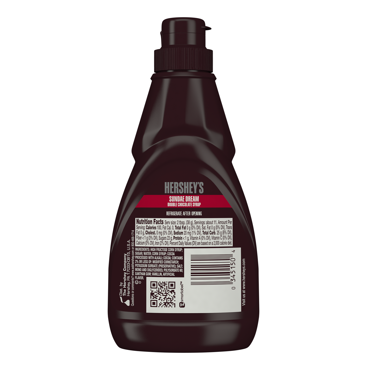 HERSHEY'S SUNDAE DREAM Double Chocolate Syrup, 15 oz bottle - Back of Package