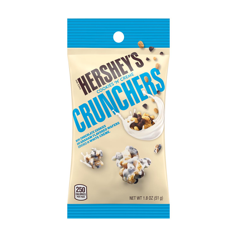 HERSHEY'S COOKIES 'N' CREME CRUNCHERS Snack, 1.8 oz tube - Front of Package