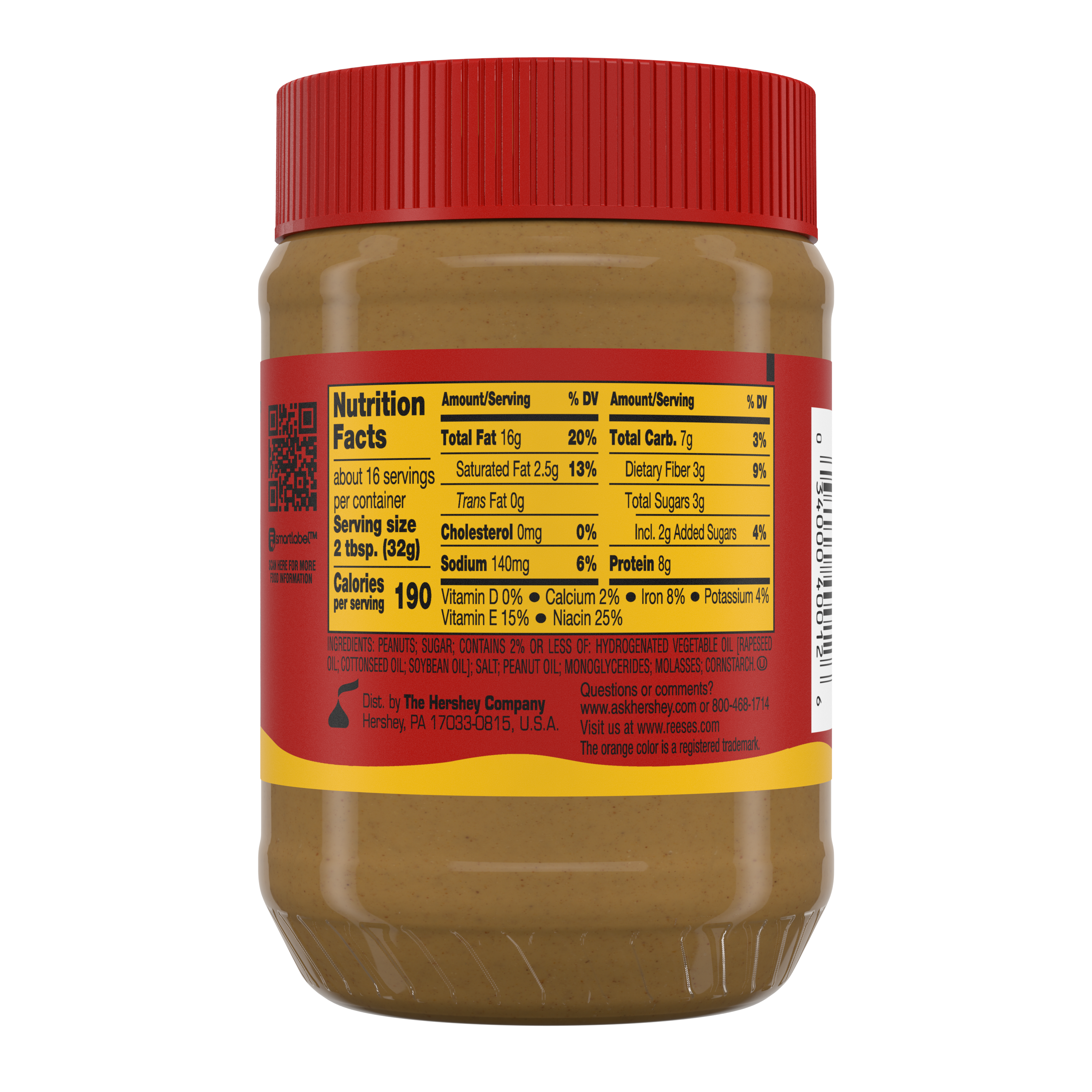 REESE'S Creamy Peanut Butter, 18 oz jar - Back of Package