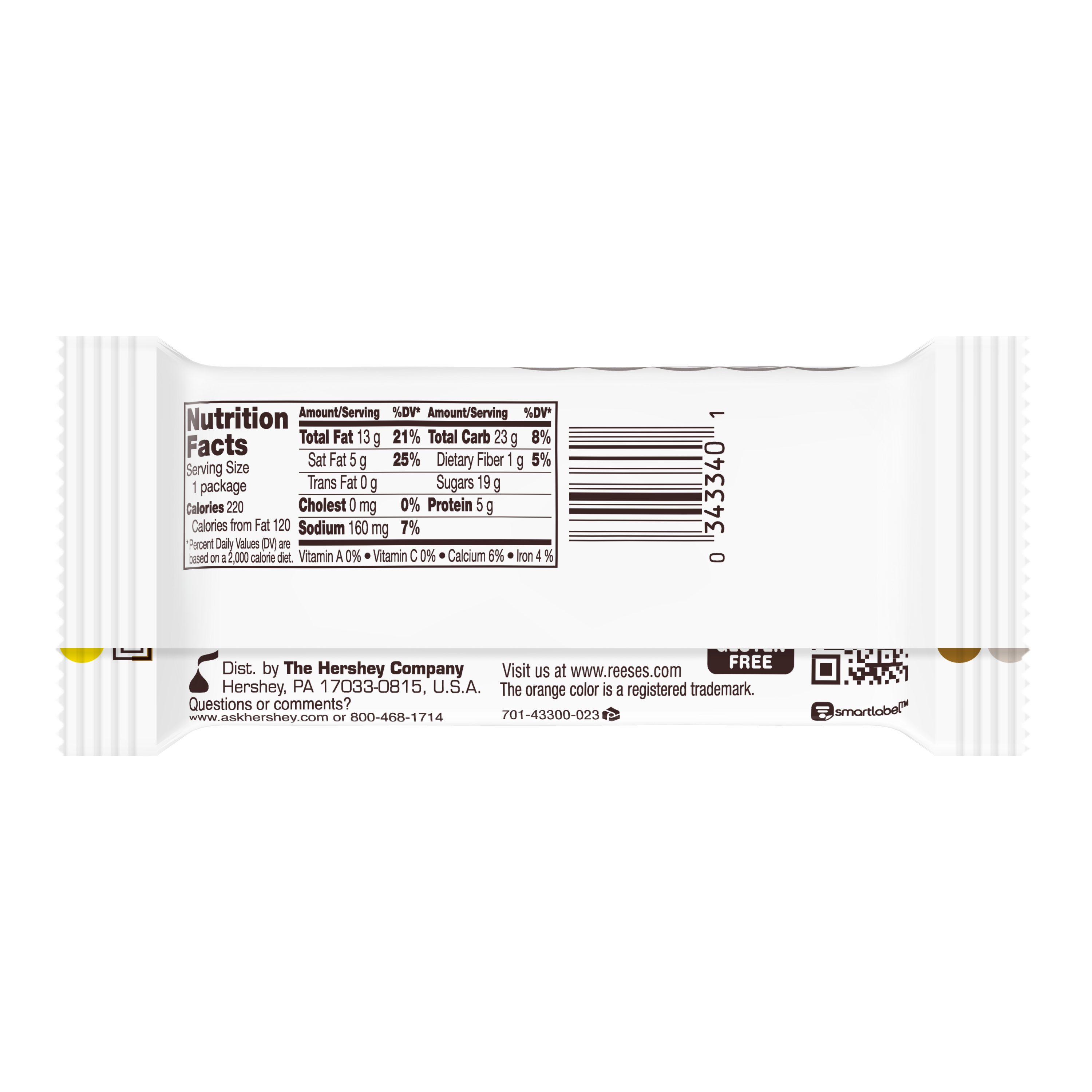 REESE'S White Creme Peanut Butter Cups, 1.5 oz - Back of Package
