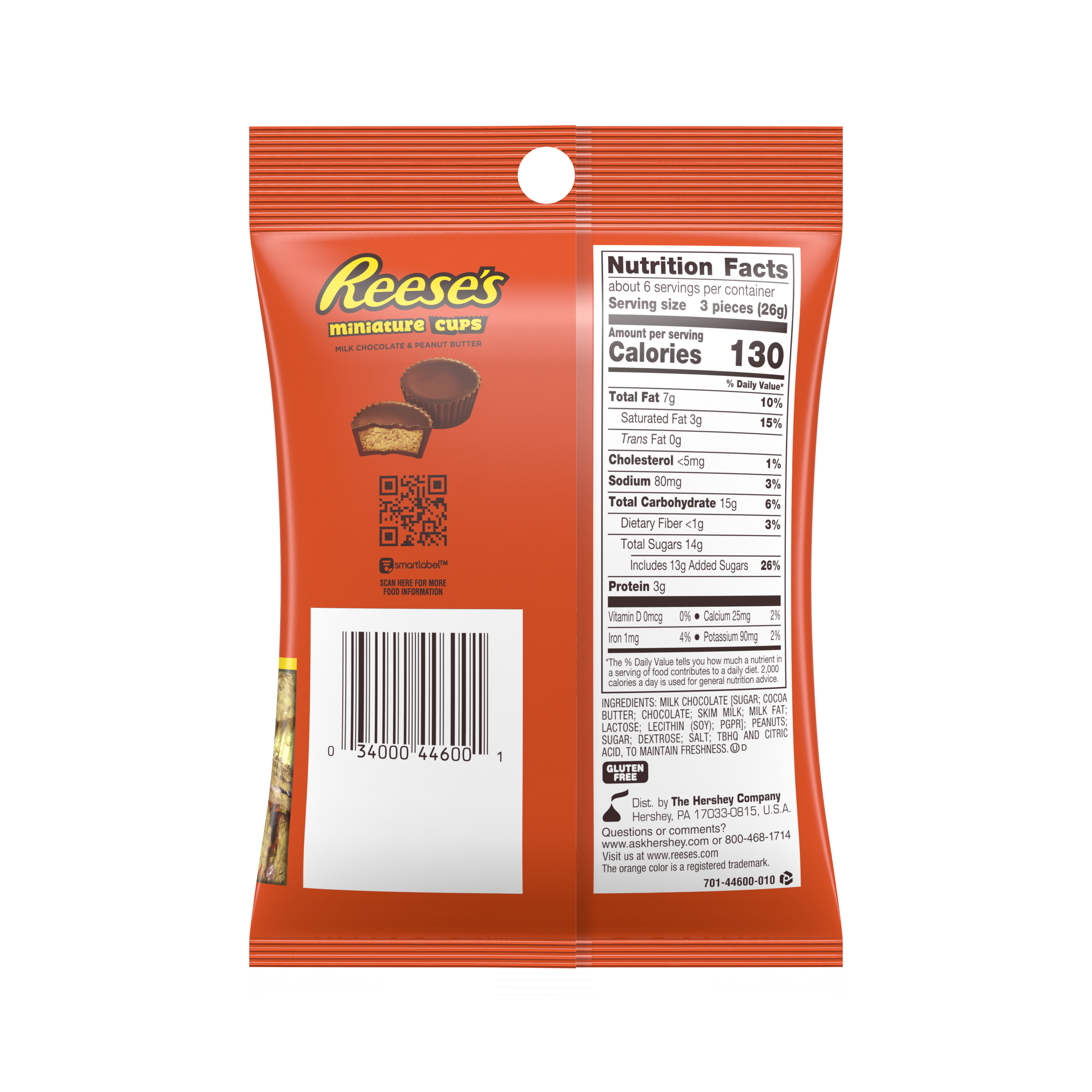 REESE'S Miniatures Milk Chocolate Peanut Butter Cups, 5.3 oz bag - Back of Package