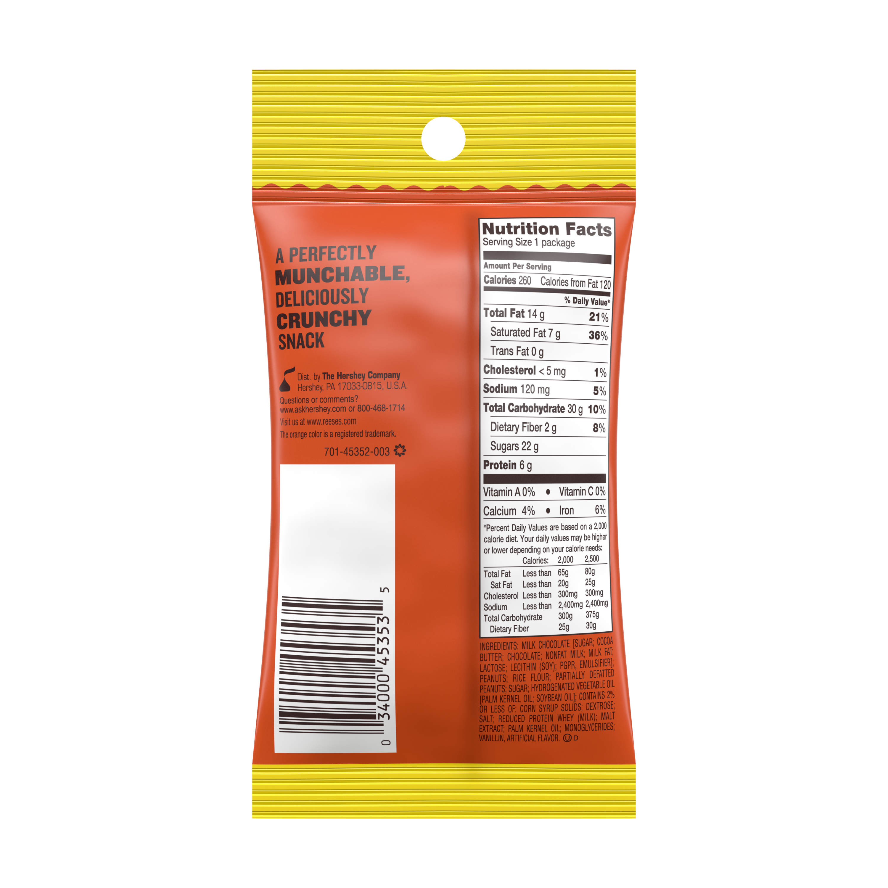 REESE'S CRUNCHERS Milk Chocolate Peanut Butter Snack, 1.8 oz tube - Back of Package