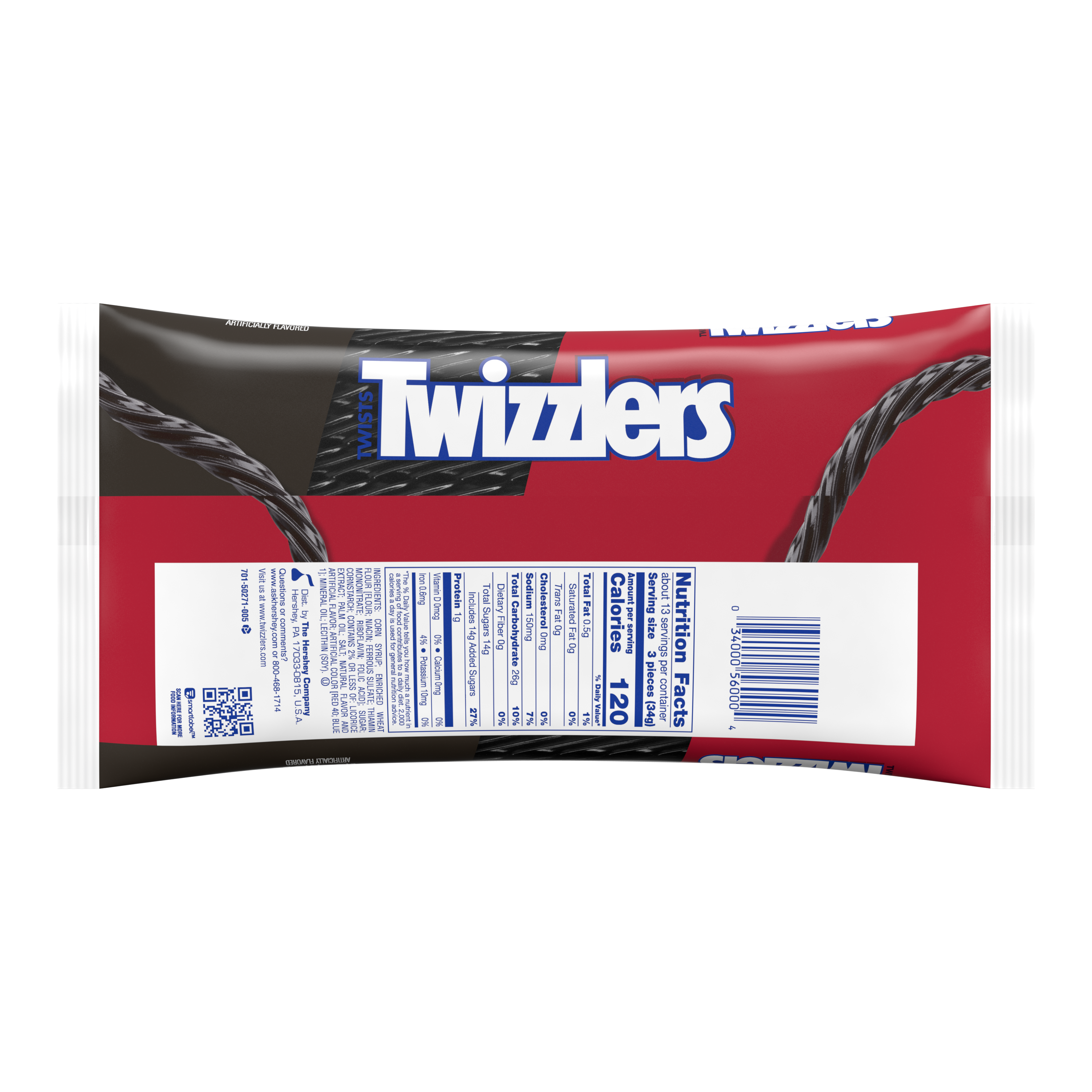 TWIZZLERS Twists Black Licorice Candy, 16 oz bag - Back of Package