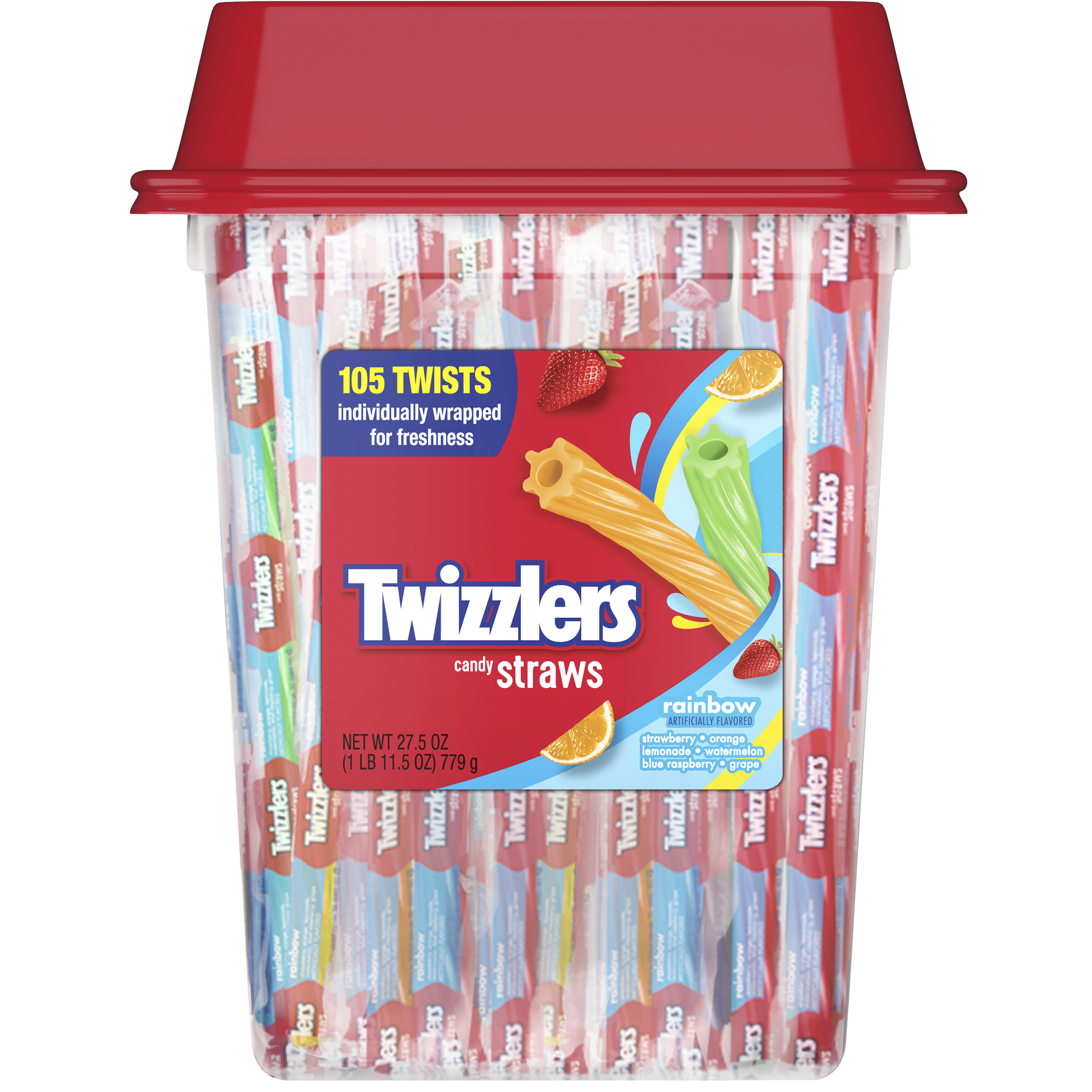 TWIZZLERS Twists Rainbow Candy, 27.5 oz tub, 105 pieces - Front of Package