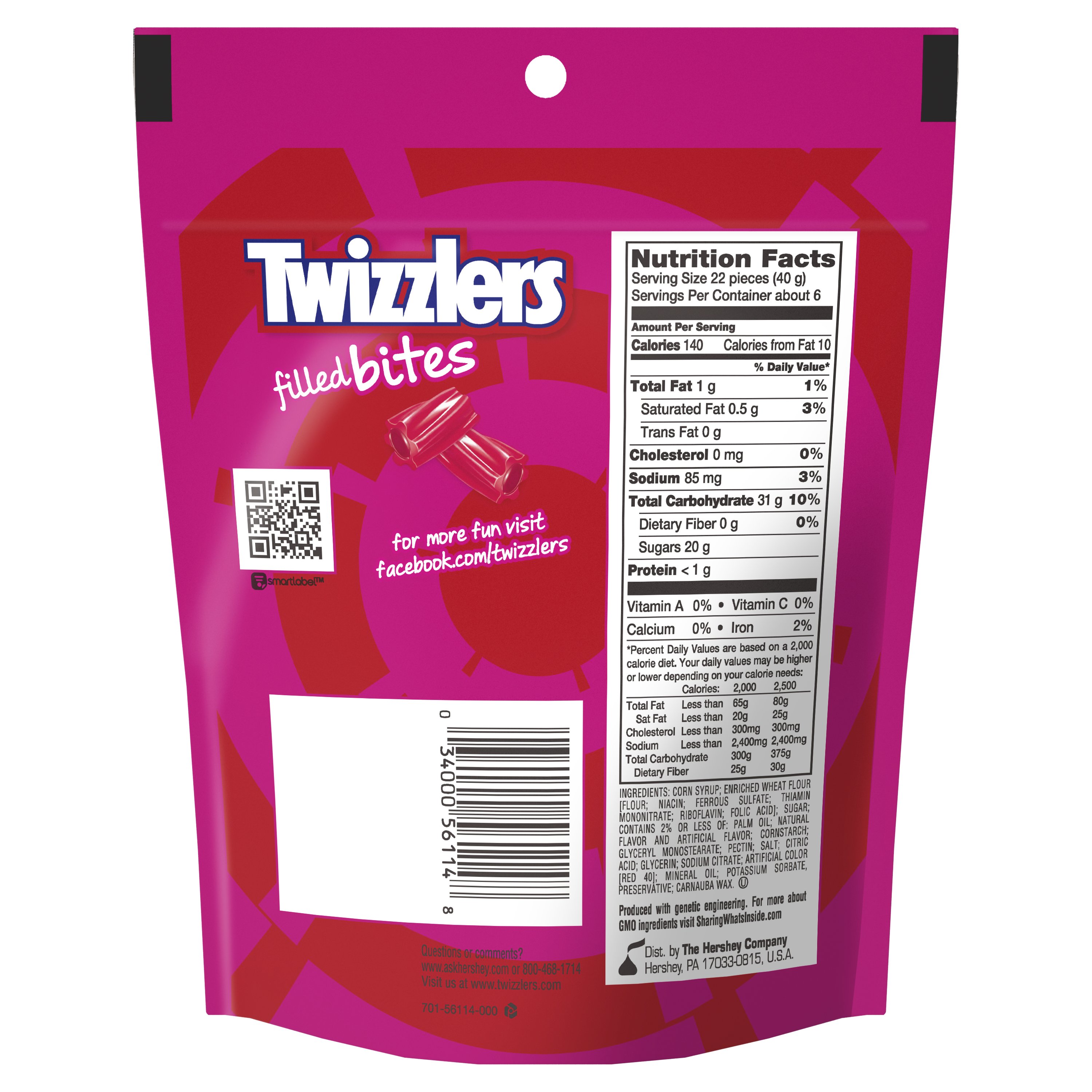 TWIZZLERS Filled Bites Strawberry Flavored Candy, 8 oz bag - Back of Package