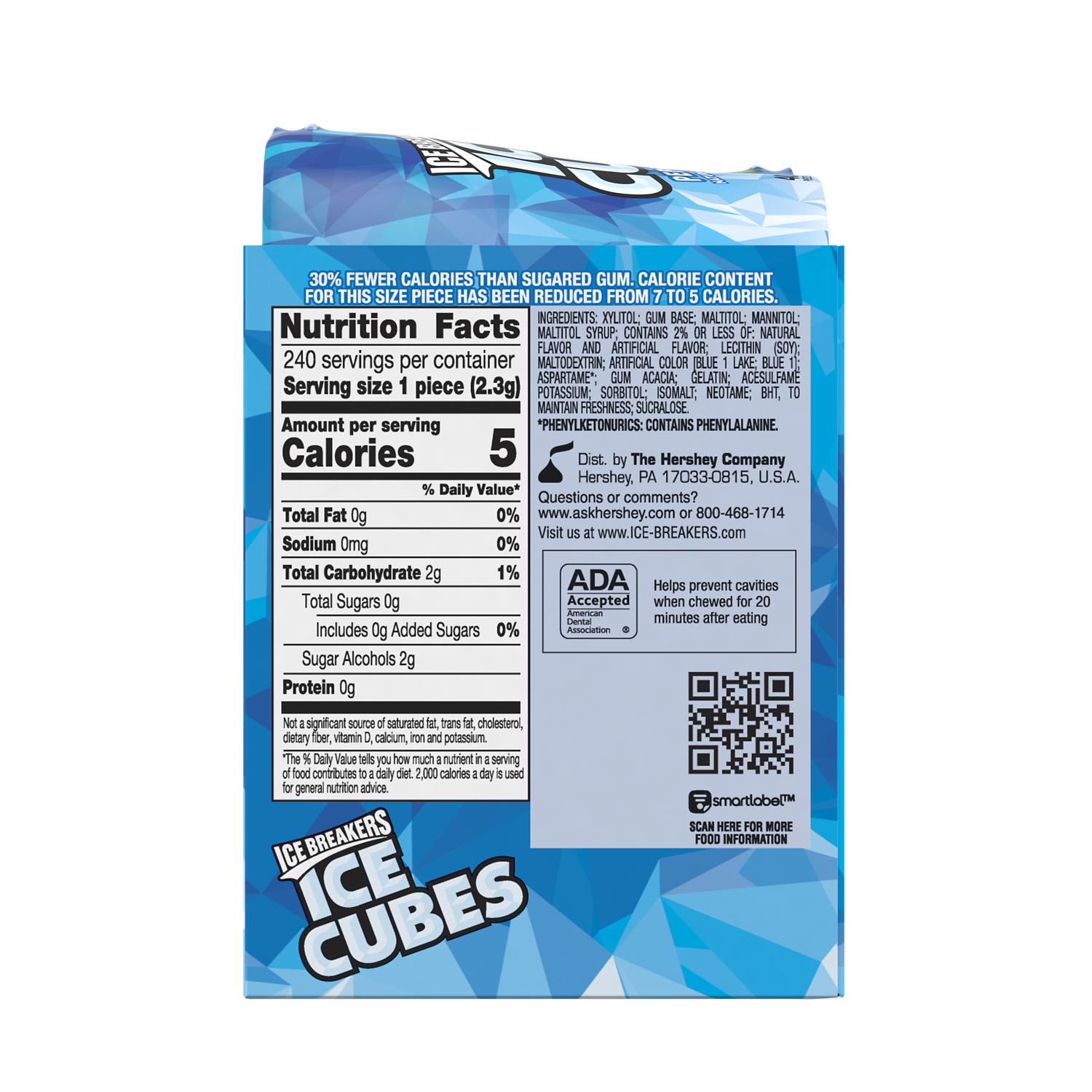 ICE BREAKERS ICE CUBES Peppermint Sugar Free Gum, 19.44 oz, 6 pack - Back of Package