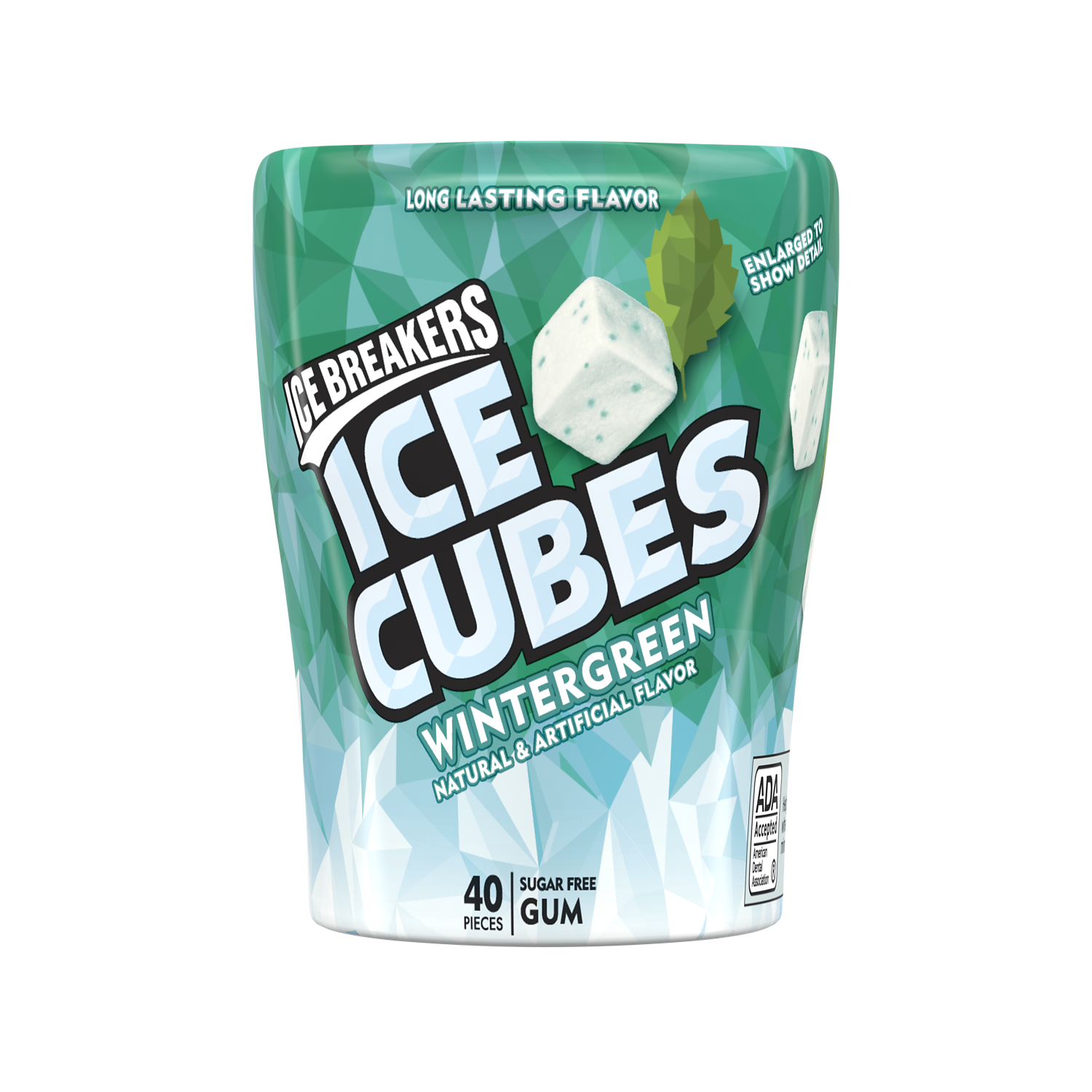 ICE BREAKERS ICE CUBES Wintergreen Sugar Free Gum, 3.24 oz bottle, 40 pieces - Front of Package