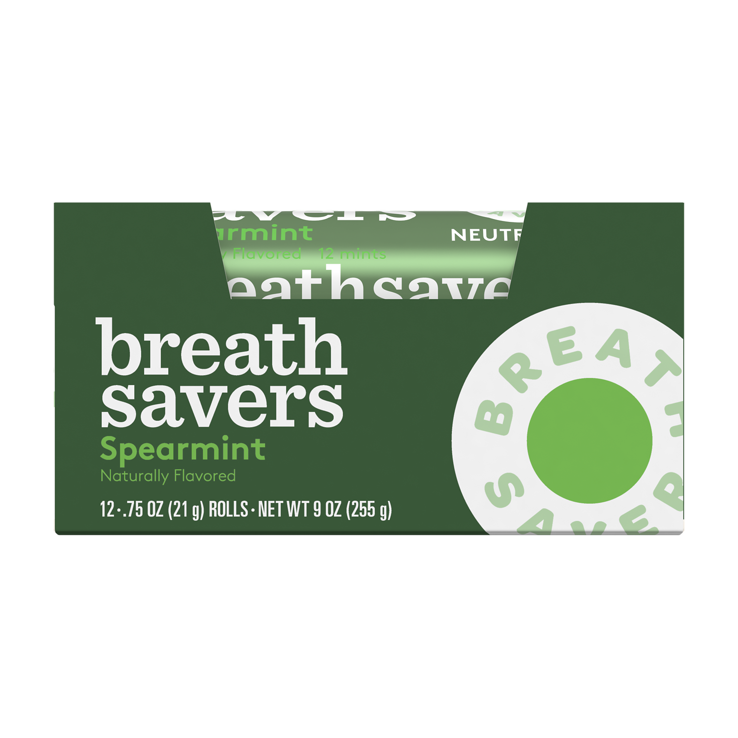 BREATH SAVERS Spearmint Sugar Free Mints, 0.75 oz box, 12 count - Front of Package